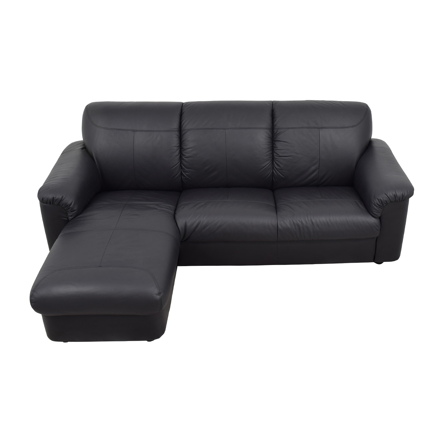 41 Off Ikea Black 3 Piece Leather Sectional Sofas