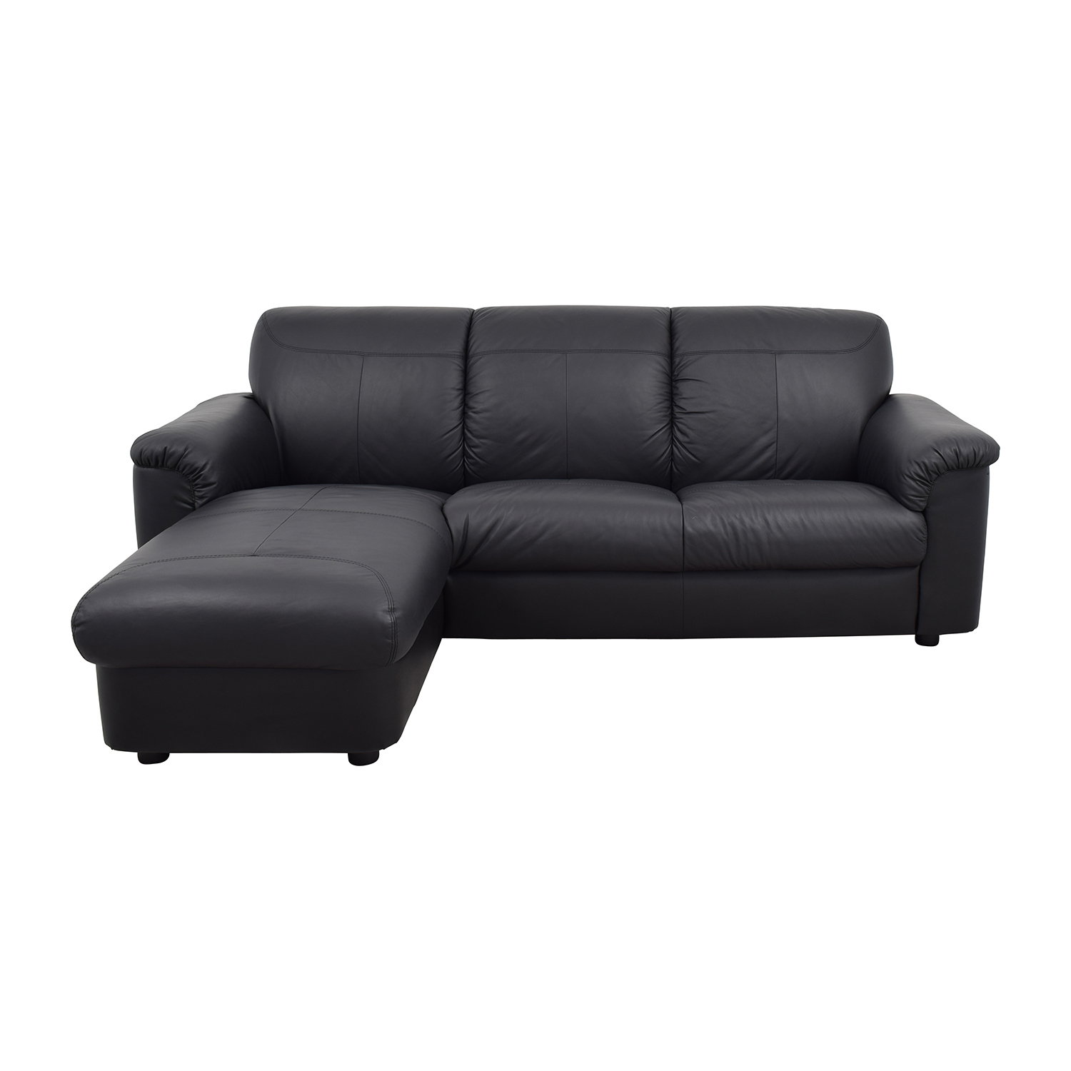 41% OFF IKEA IKEA Black 3 Piece Leather Sectional Sofas