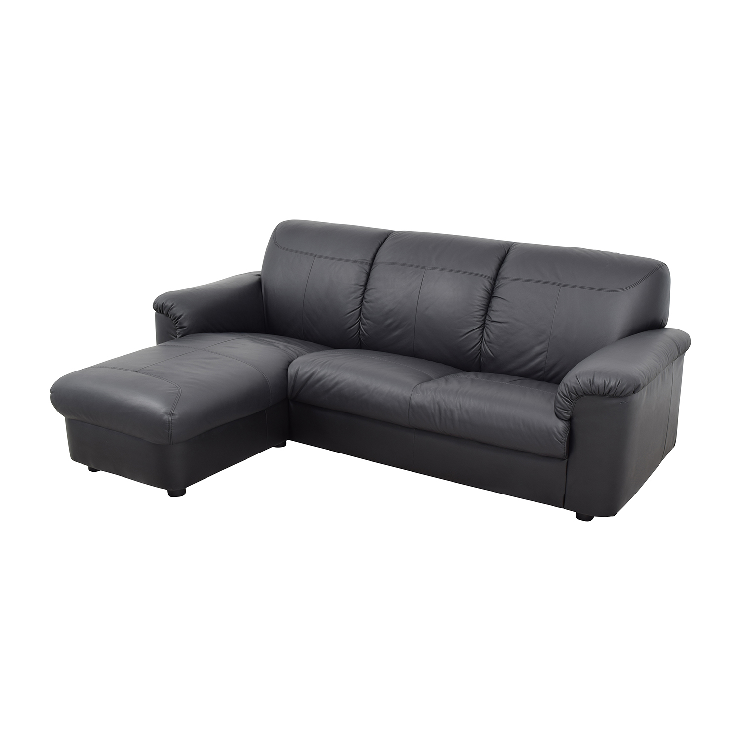 buy IKEA Black 3-Piece Leather Sectional IKEA Sectionals
