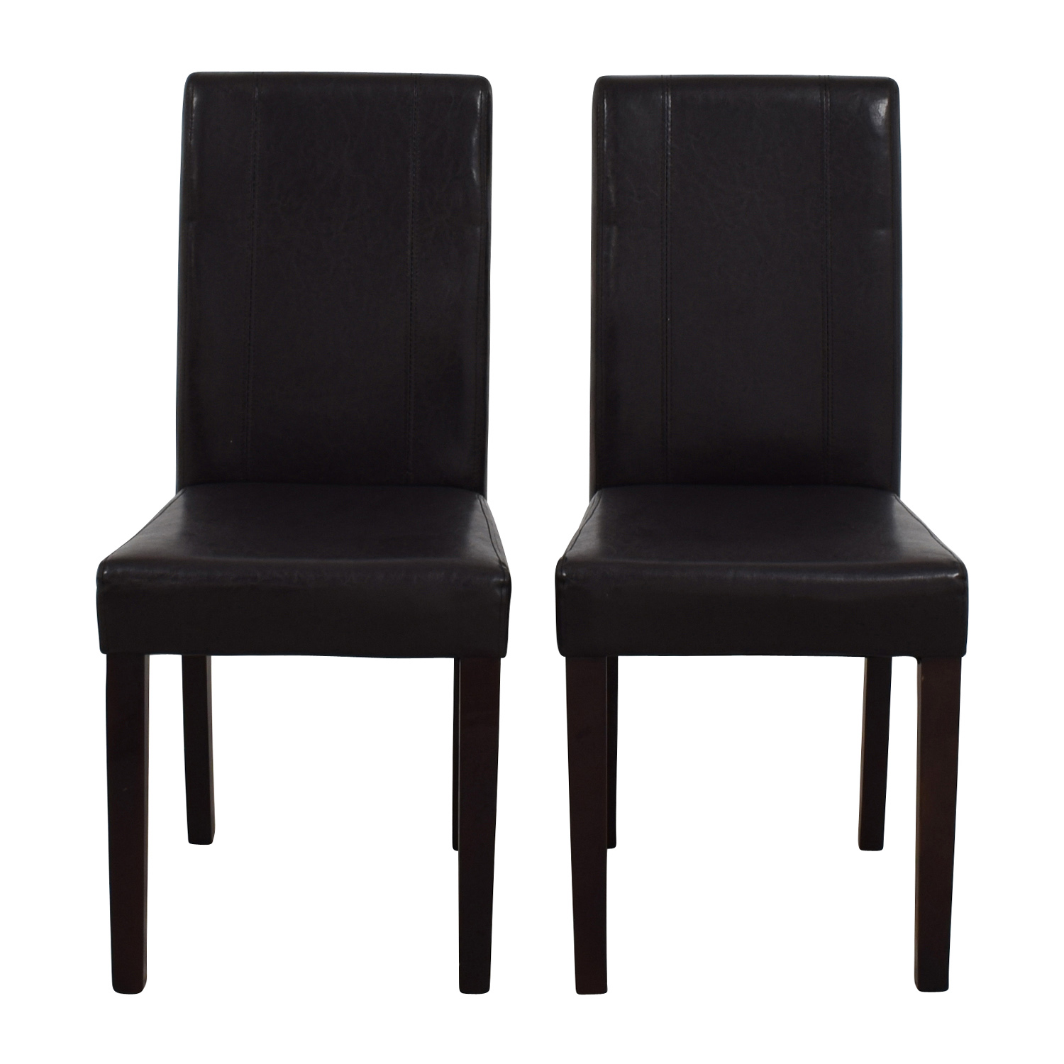 Roundhill Roundhill Solid Wood Leatherette Padded Parson Chairs Chairs