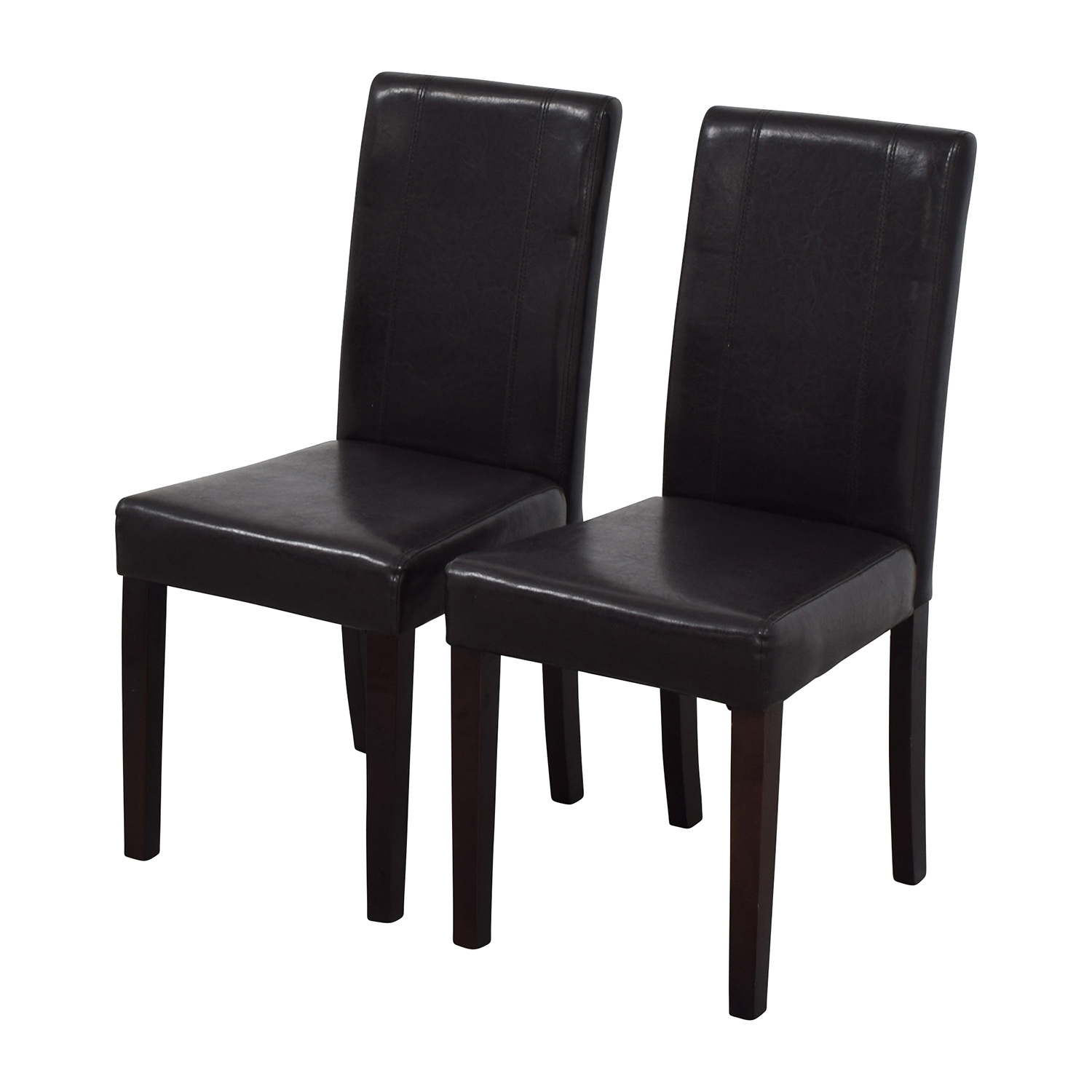 Roundhill Roundhill Solid Wood Leatherette Padded Parson Chairs Dining Chairs