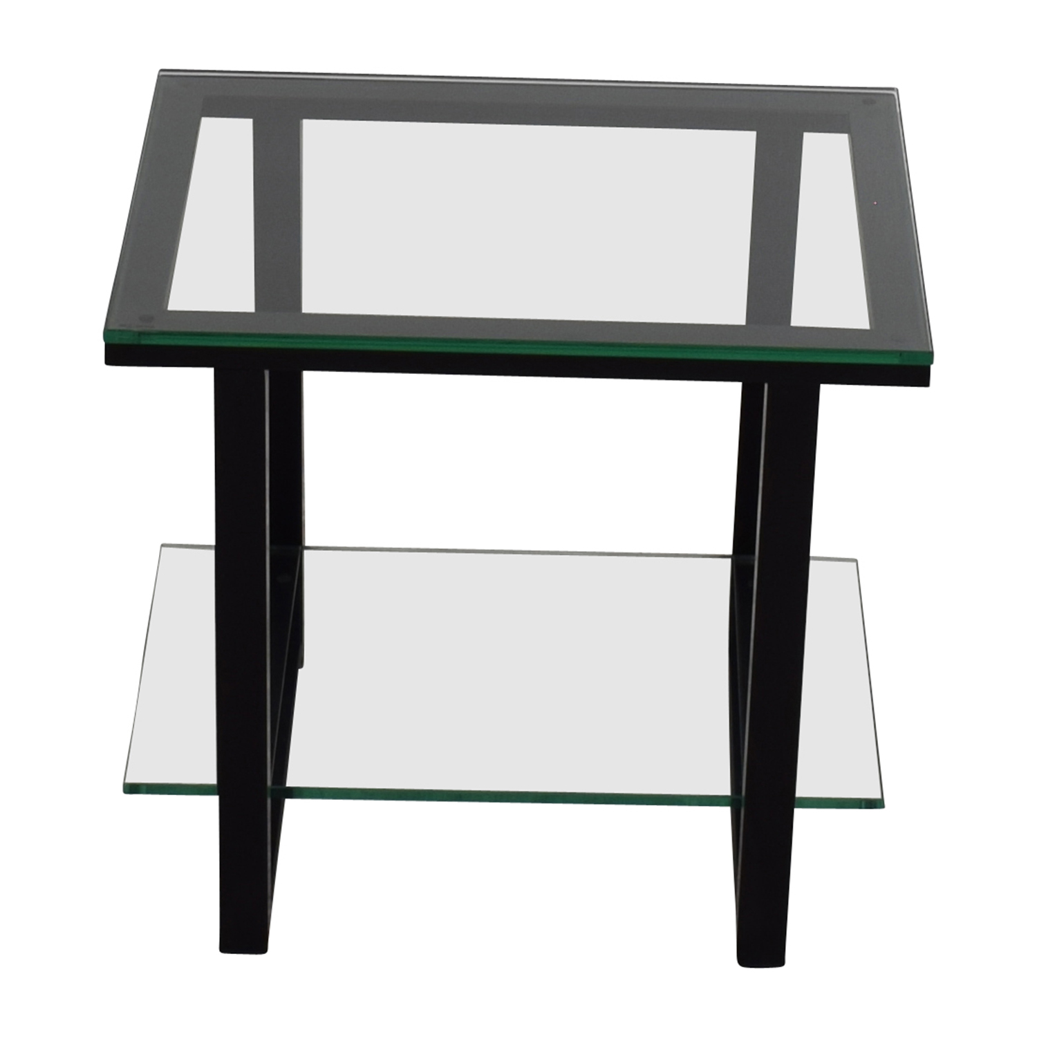 Crate and Barrel Crate & BarrelGlass and Metal Two -Shelf Side Table nyc