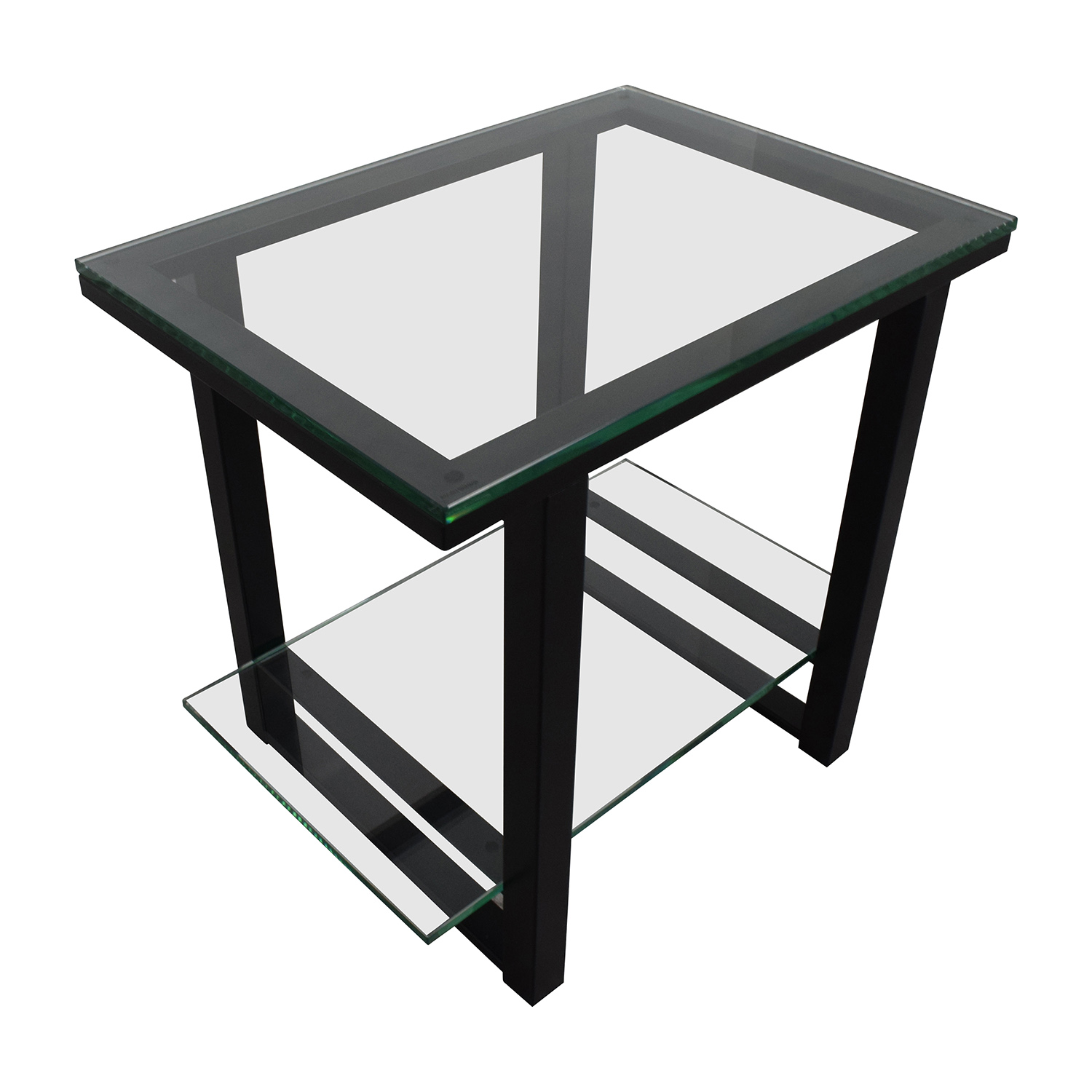 Crate And Barrel Barrelgl Metal Two Shelf Side Table Black