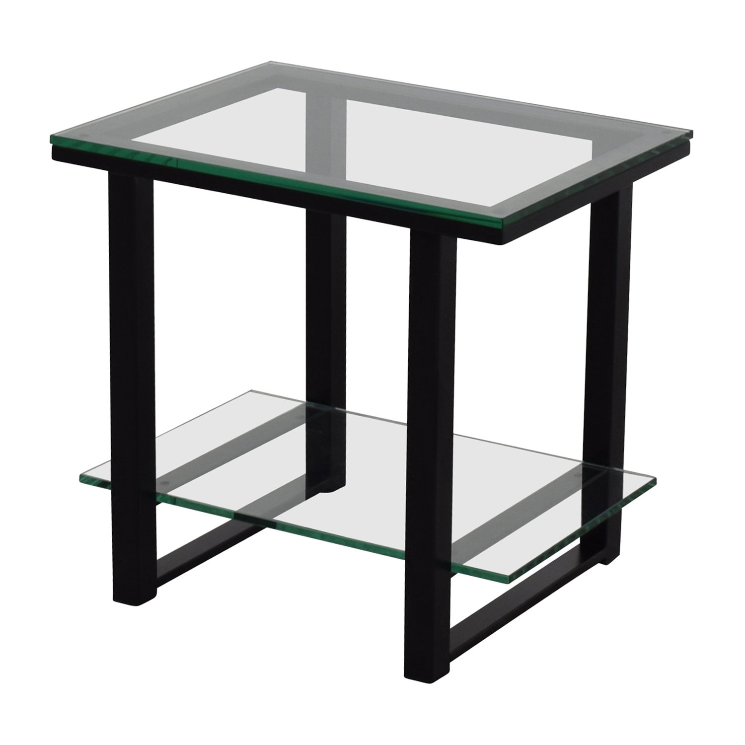 Crate & BarrelGlass and Metal Two -Shelf Side Table / Accent Tables