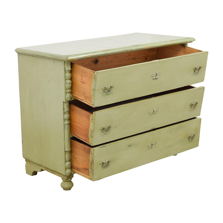 Antique Sage Green Three-Drawer Dresser / Storage