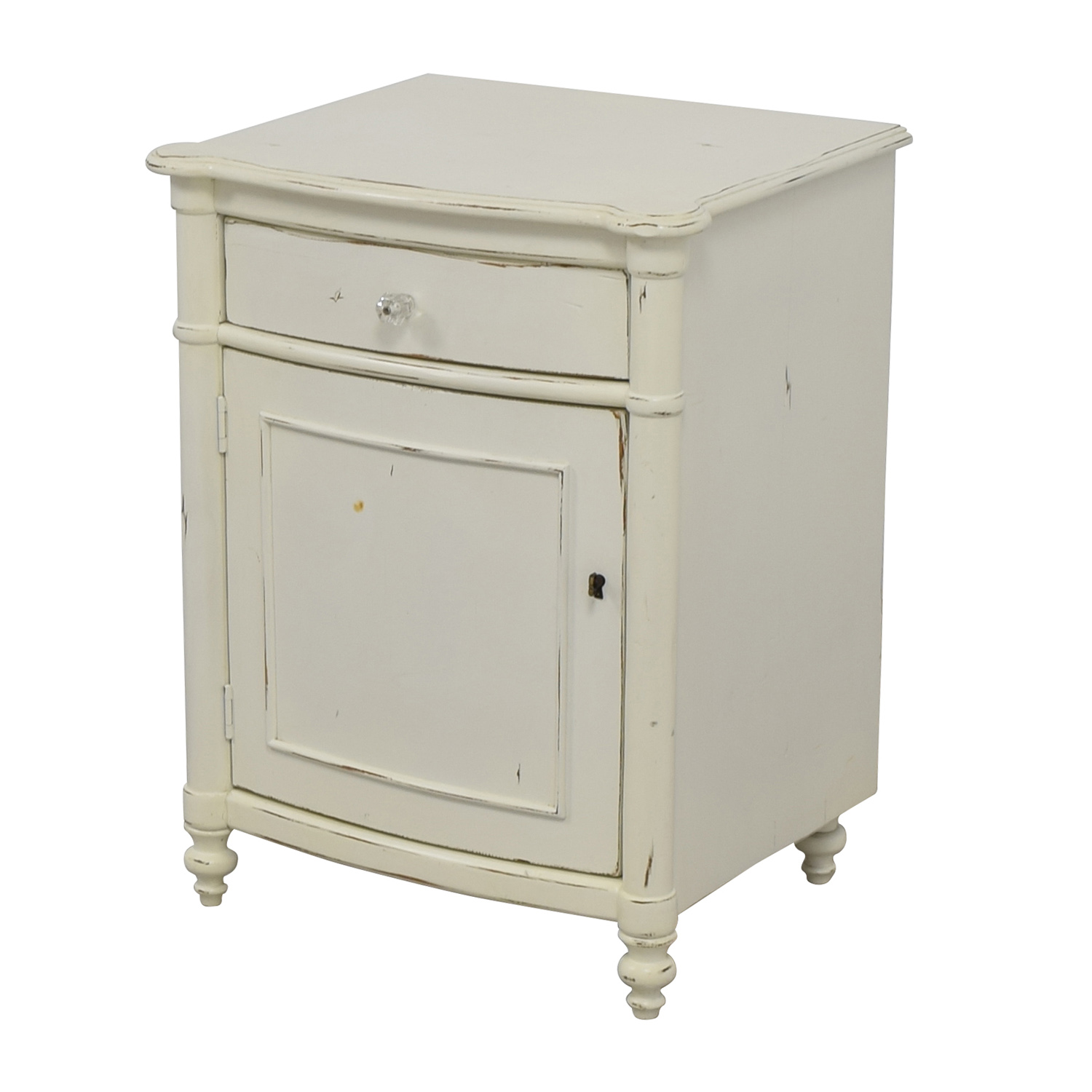 75 off pottery barn pottery barn white distressed for White nightstand table