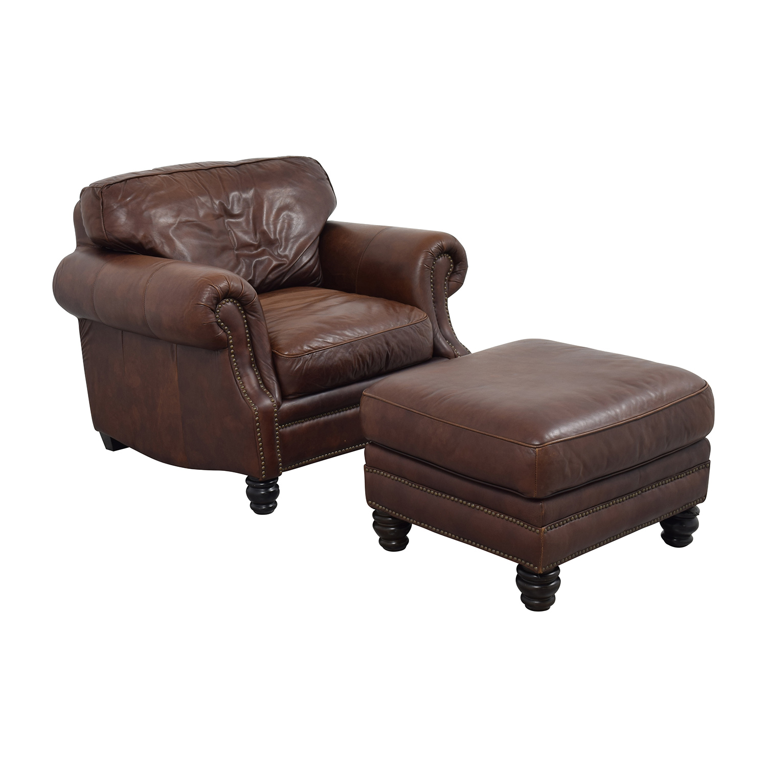 Brown Leather Studded Armchair with Matching Ottoman Brown