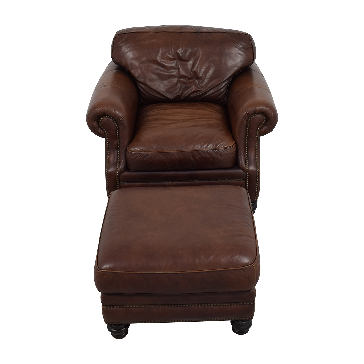 Attirant ... Brown Leather Studded Armchair With Matching Ottoman / Chairs ...