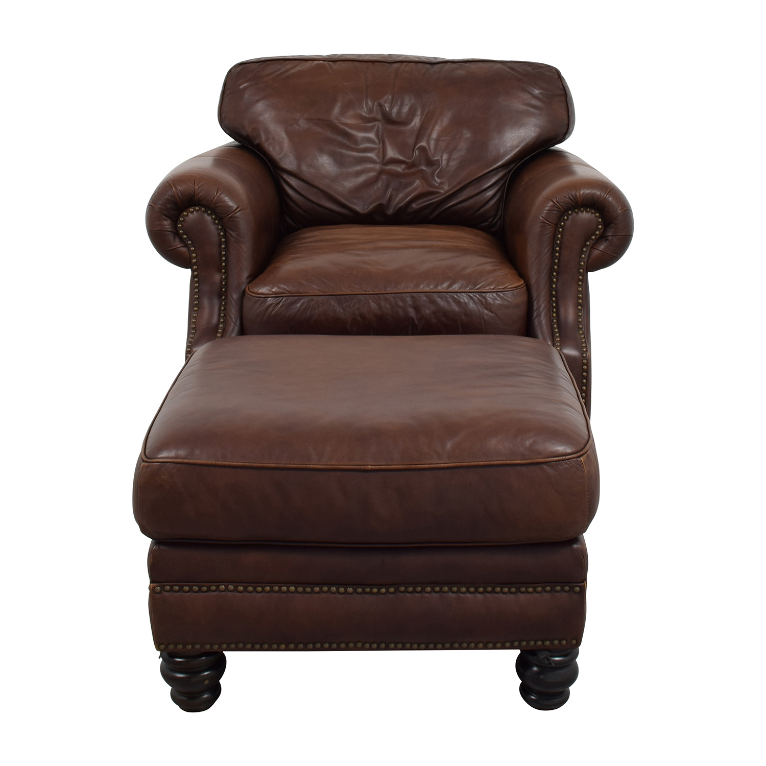 Buy Brown Leather Studded Armchair With Matching Ottoman Chairs ...