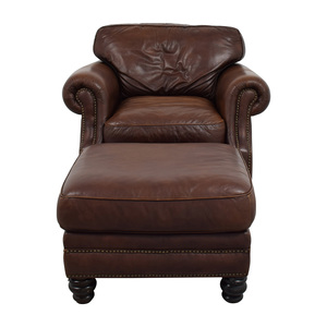 Brown Leather Studded Armchair with Matching Ottoman used
