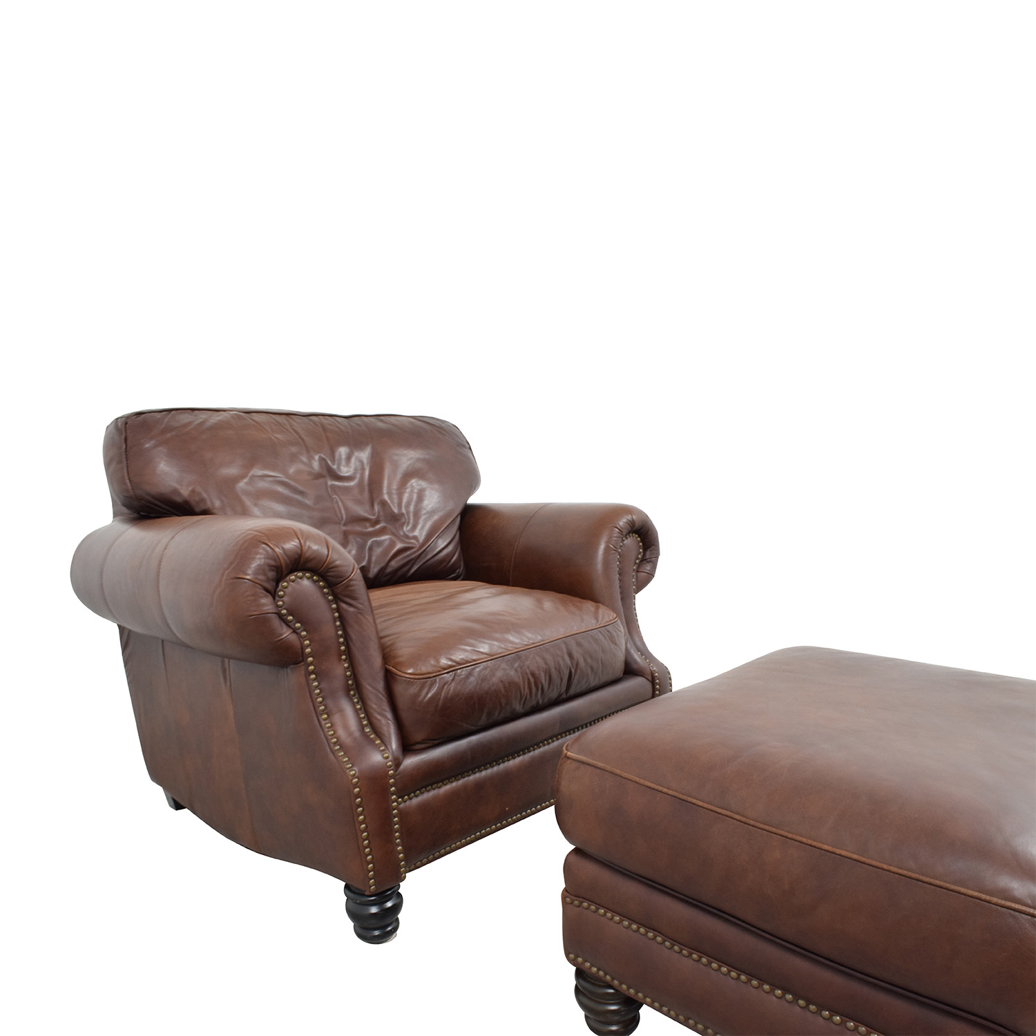 Brown Leather Studded Armchair with Matching Ottoman