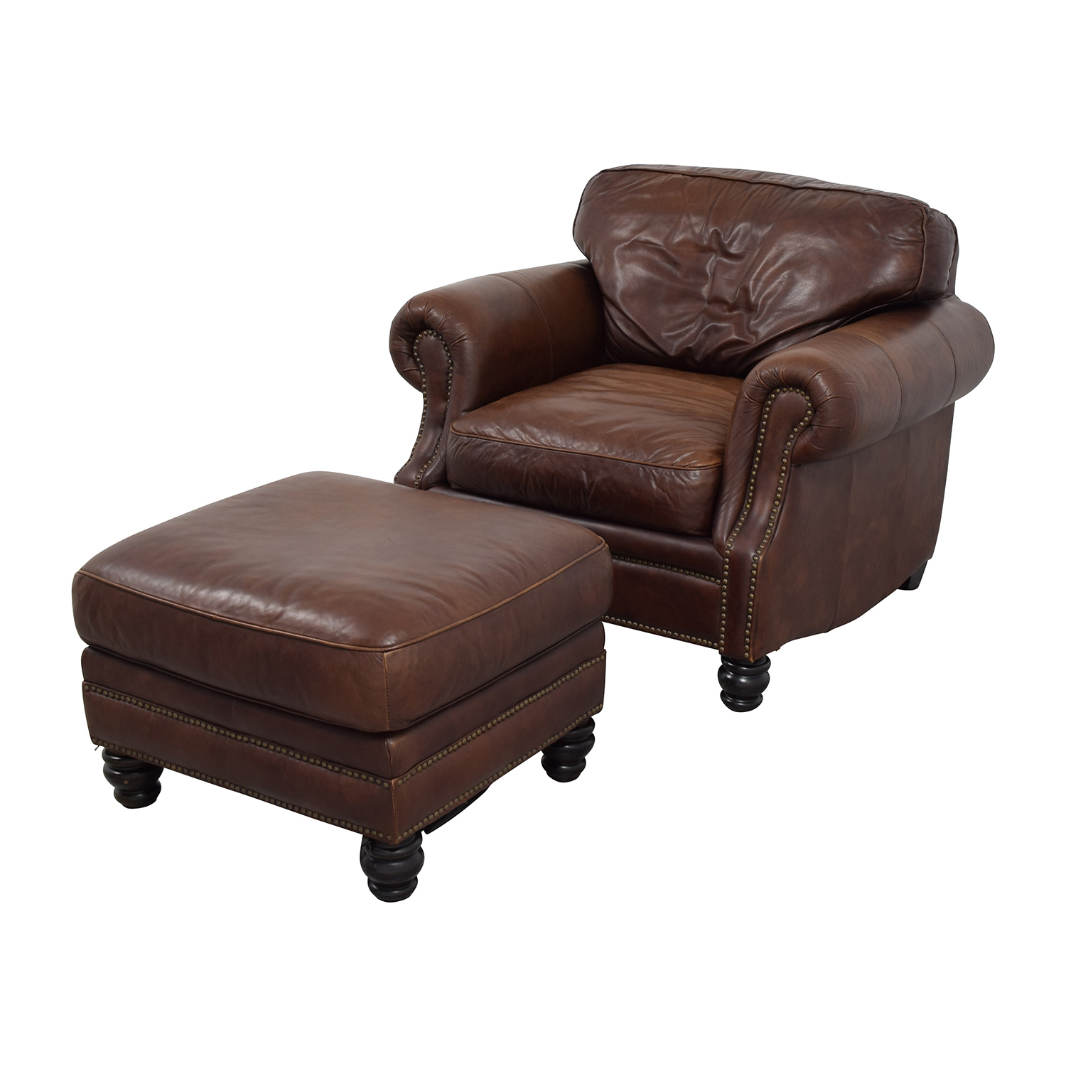 Brown Leather Studded Armchair with Matching Ottoman dimensions