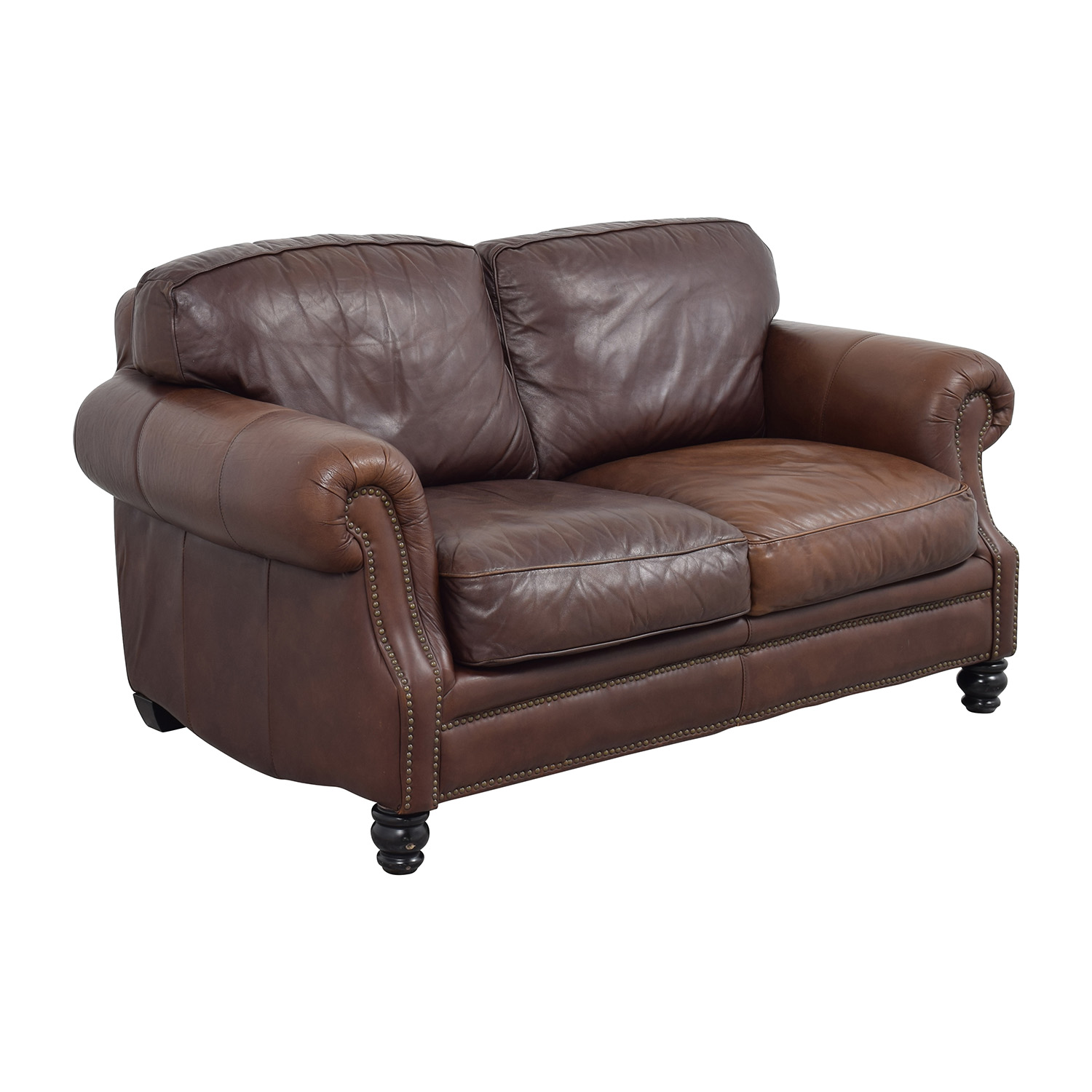 68 off brown leather studded loveseat sofas for Brown leather couch with studs