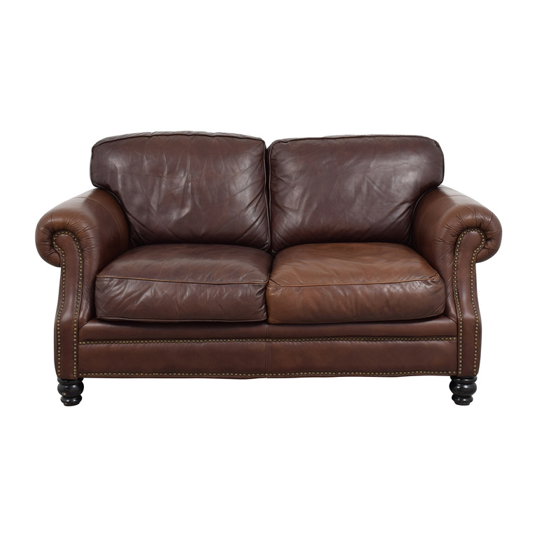 Brown Leather Studded Loveseat sale