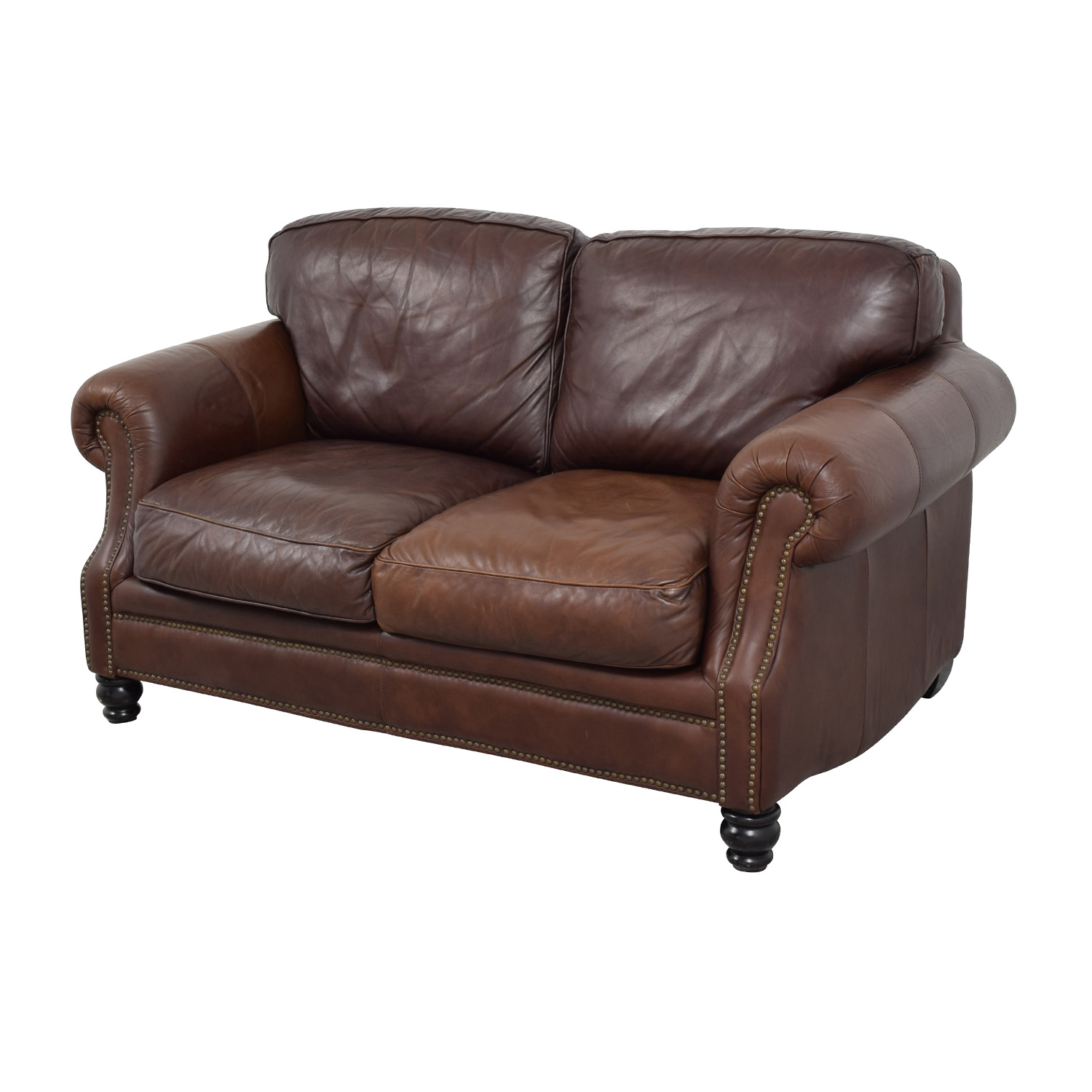 68 Off Brown Leather Studded Loveseat Sofas