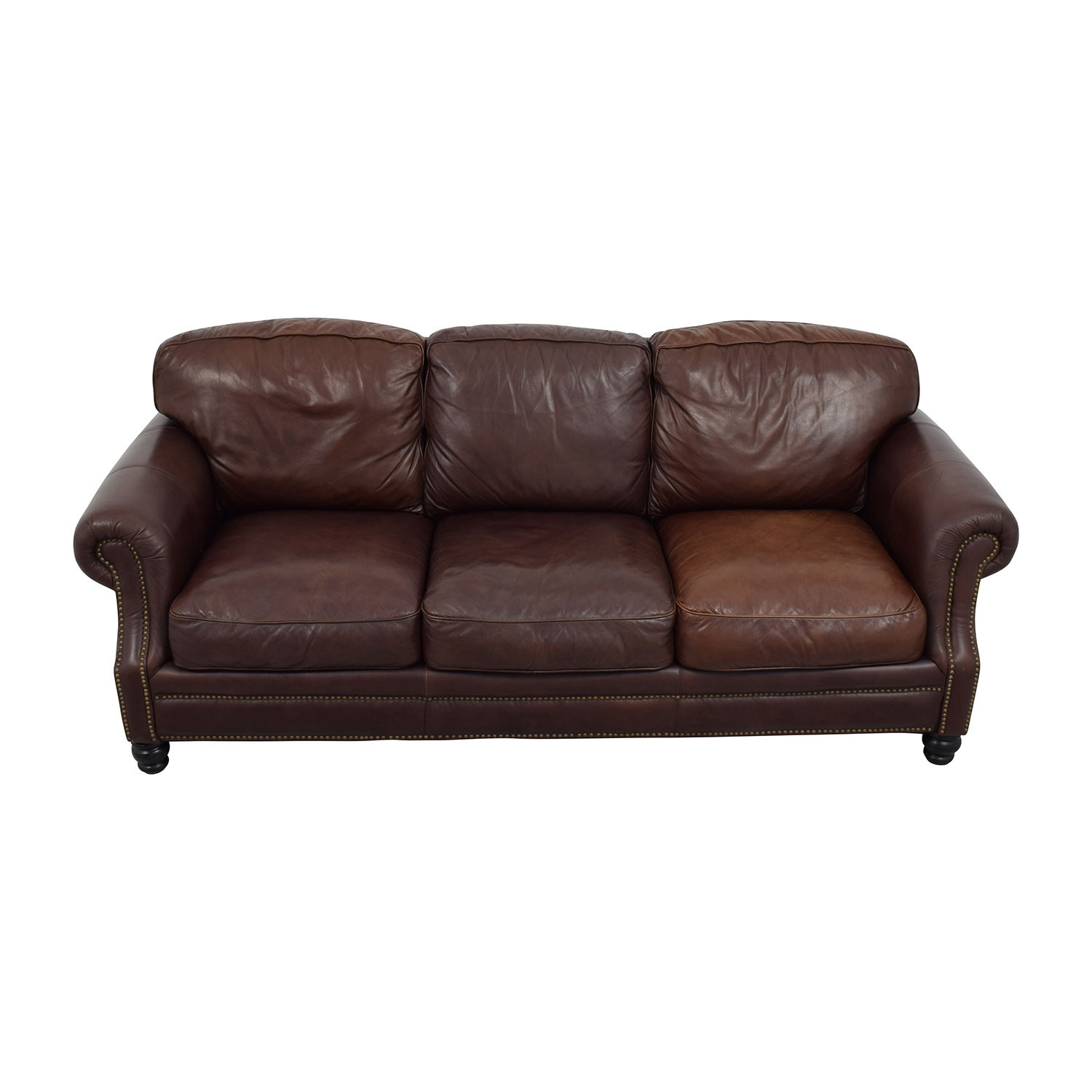 shop Brown Leather Studded Three Cushion Sofa online