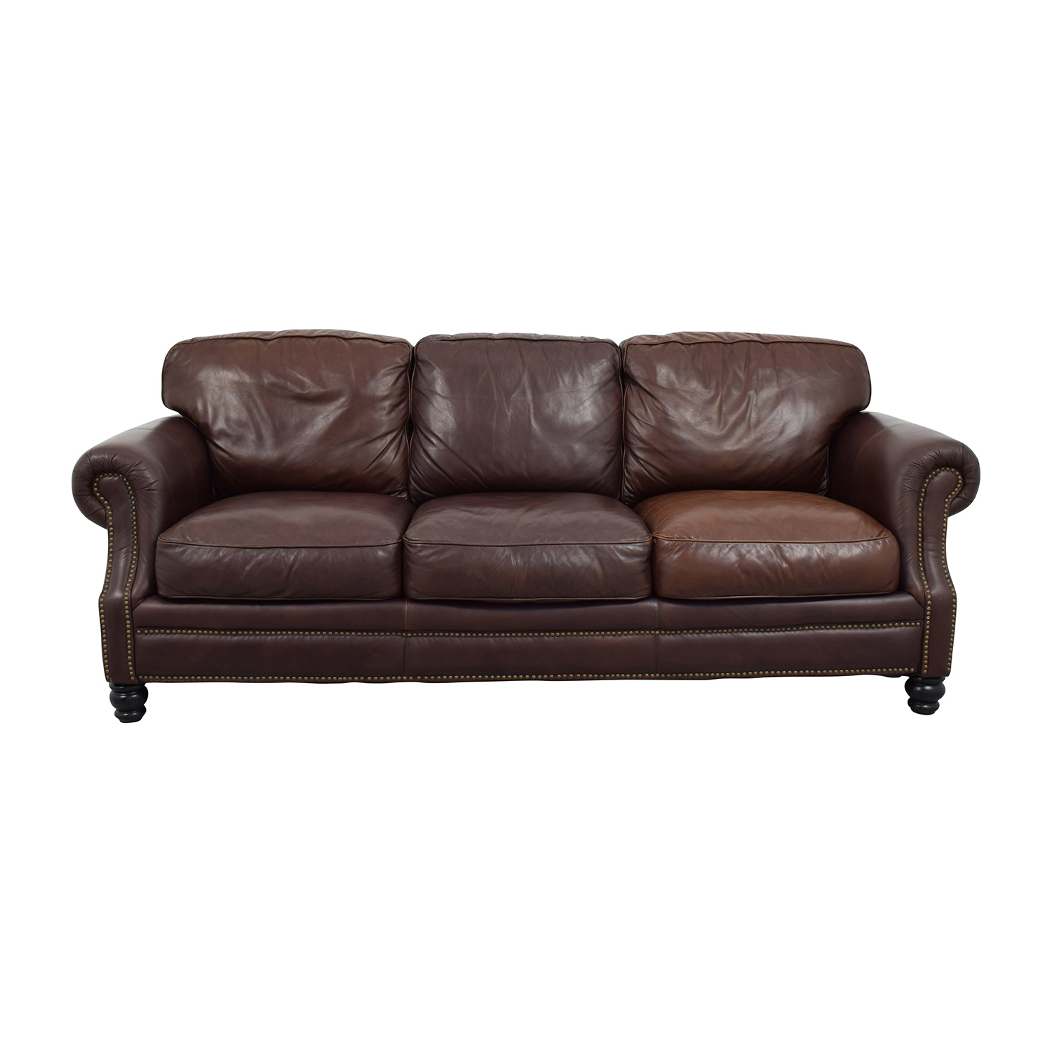 Brown Leather Studded Three Cushion Sofa