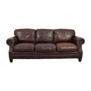 Brown Leather Studded Three Cushion Sofa discount