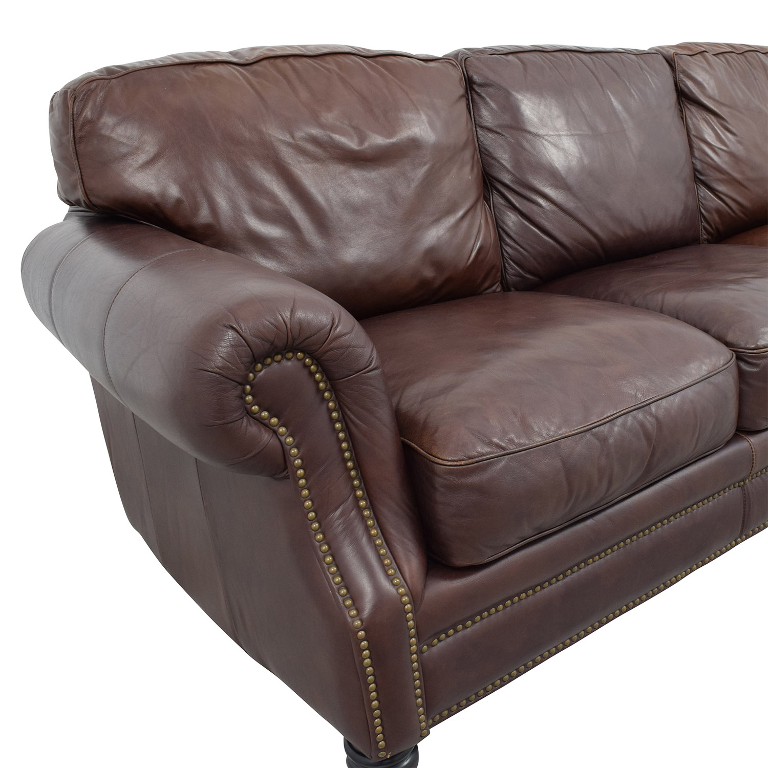 buy Brown Leather Studded Three Cushion Sofa Sofas