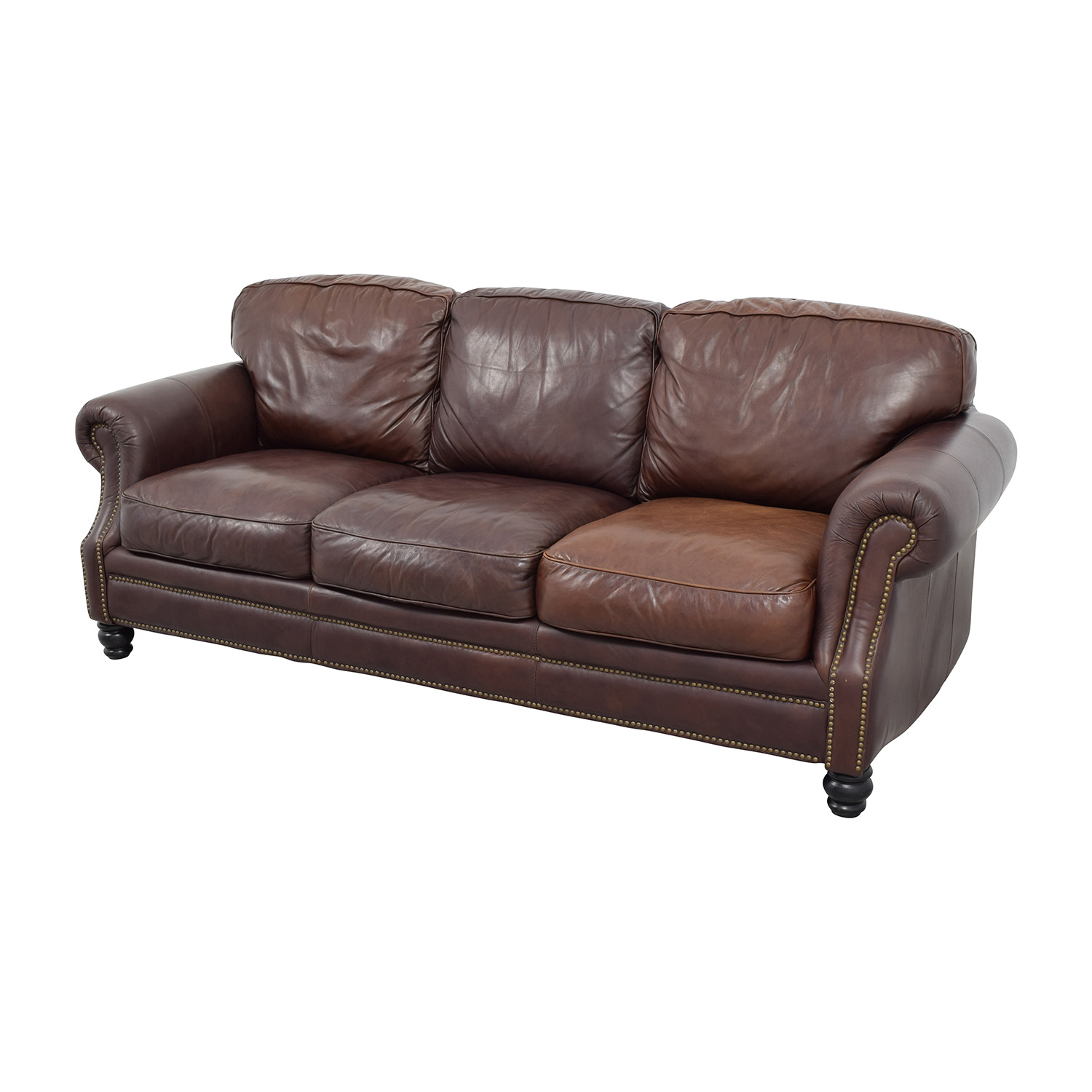61 off brown leather studded three cushion sofa sofas for Cushions for leather sofas