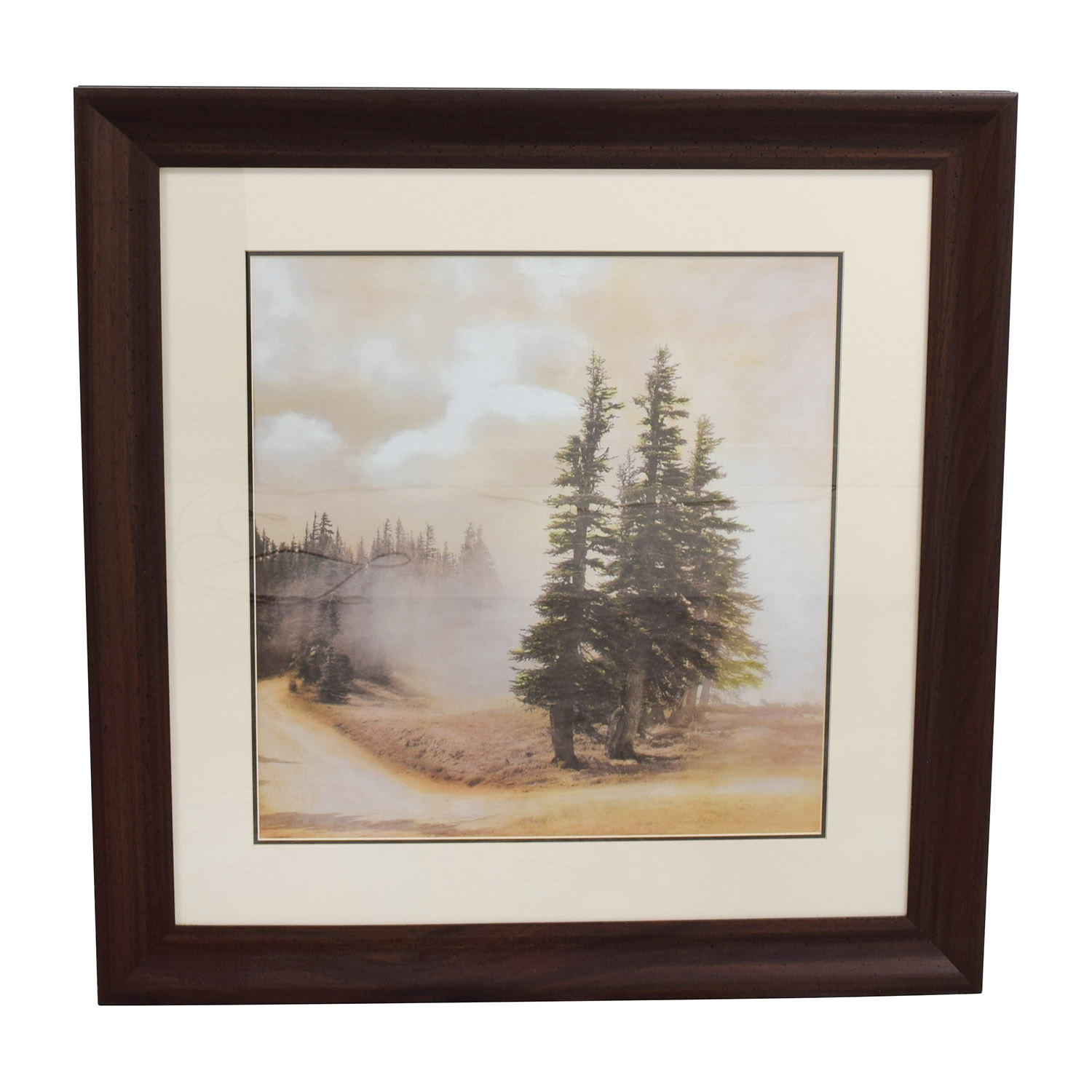 Scenic Picture of the Forest in Wood Frame Frame dark wood