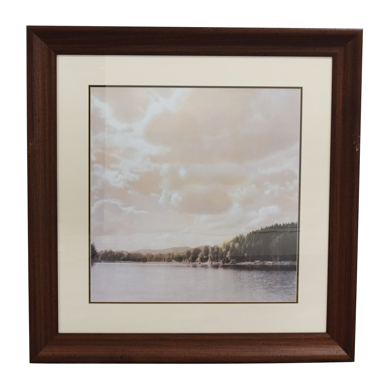 Scenic Picture of Lake in Wood Frame nj