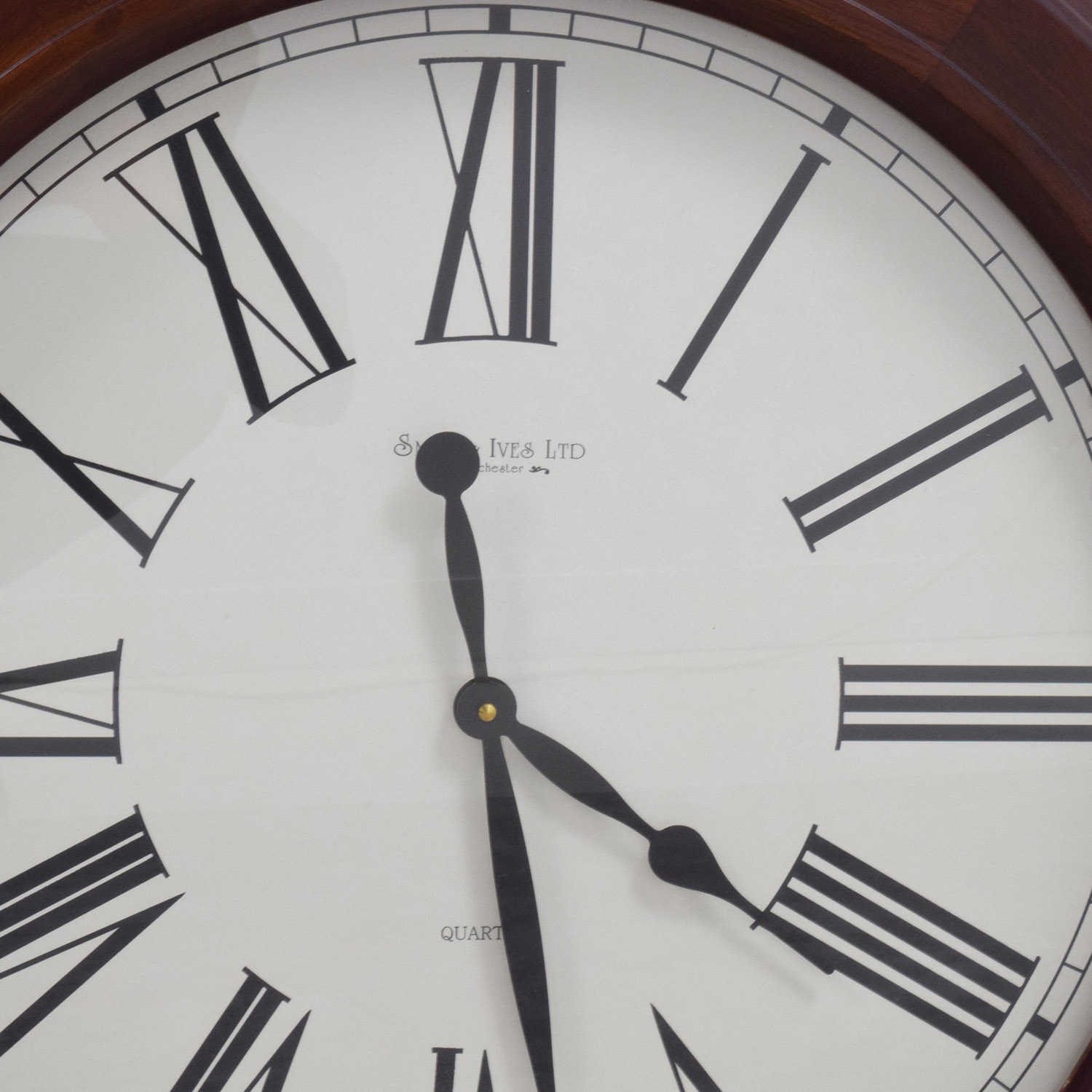 Smith Ives LTD Smith Ives Roman Numeral Clock in Wood Frame second hand