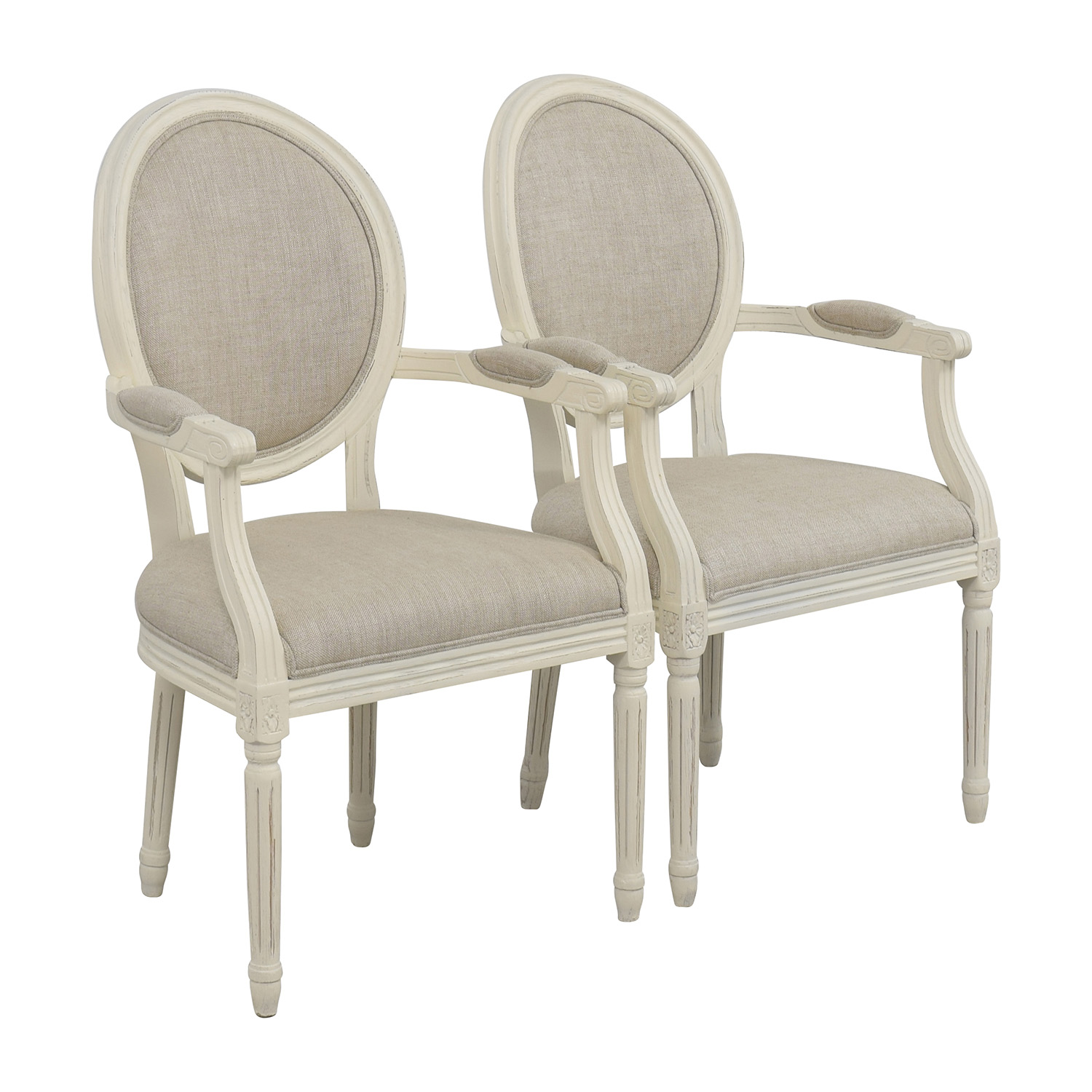 Restoration Hardware Restoration Hardware Beige French Chairs nj