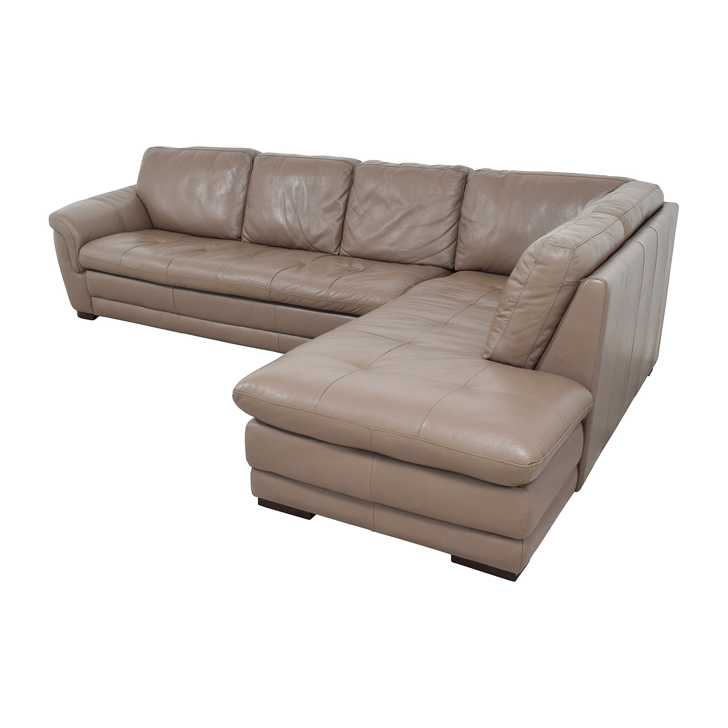 Raymour and Flanigan Raymour & Flanigan Tan Tufted Leather Sectional for sale