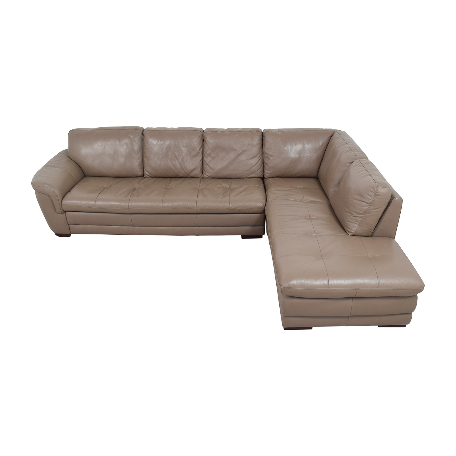 Raymour and Flanigan Raymour & Flanigan Tan Tufted Leather Sectional nj