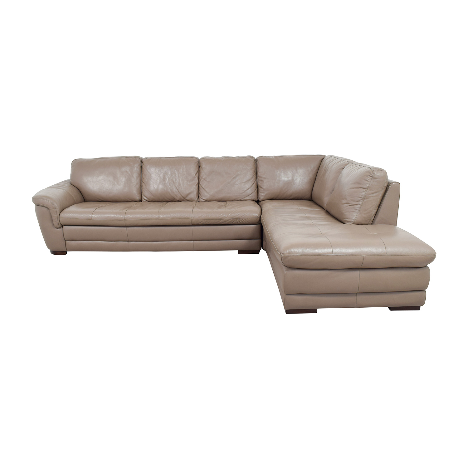 Raymour and Flanigan Raymour & Flanigan Tan Tufted Leather Sectional dimensions