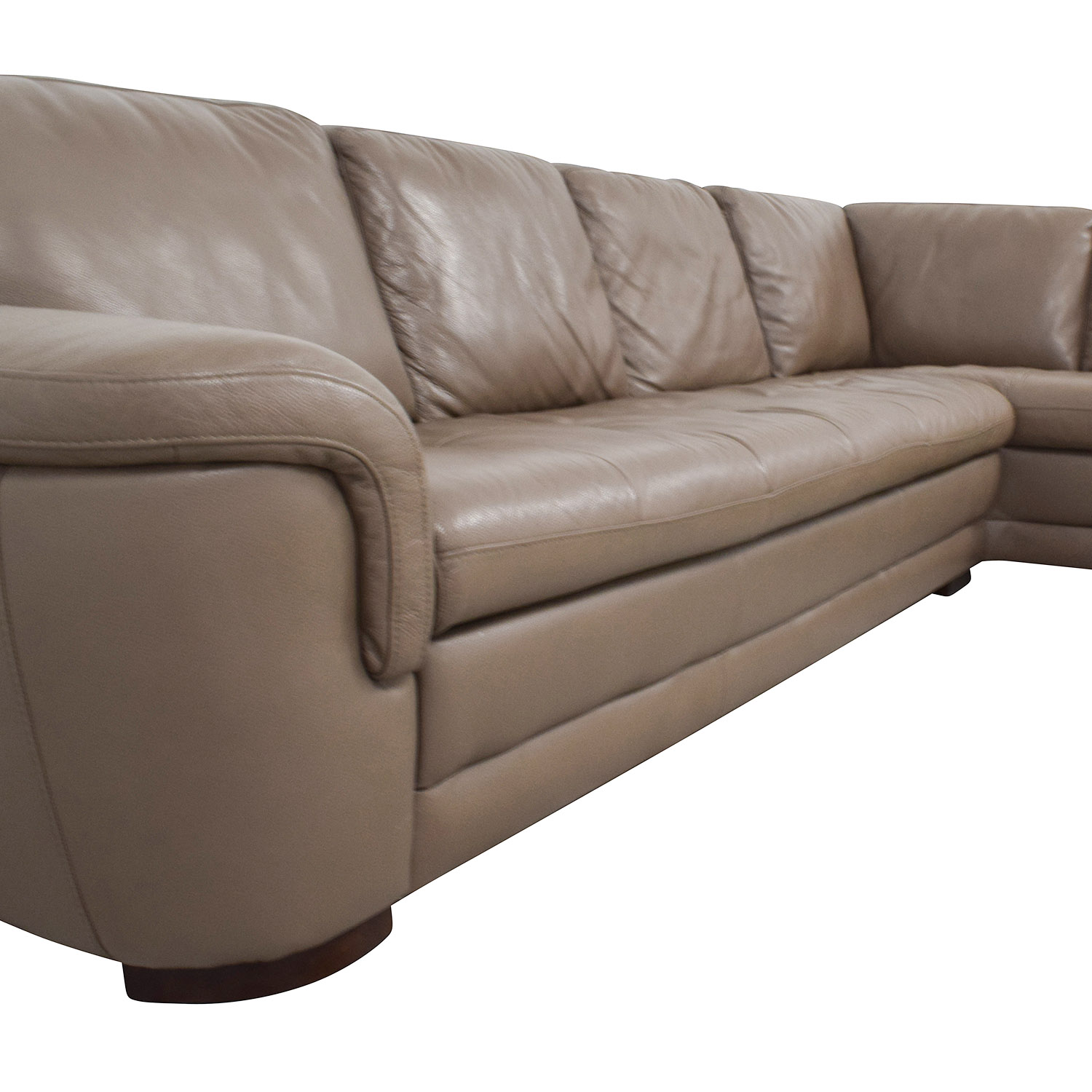 Raymour and Flanigan Raymour & Flanigan Tan Tufted Leather Sectional Sofas