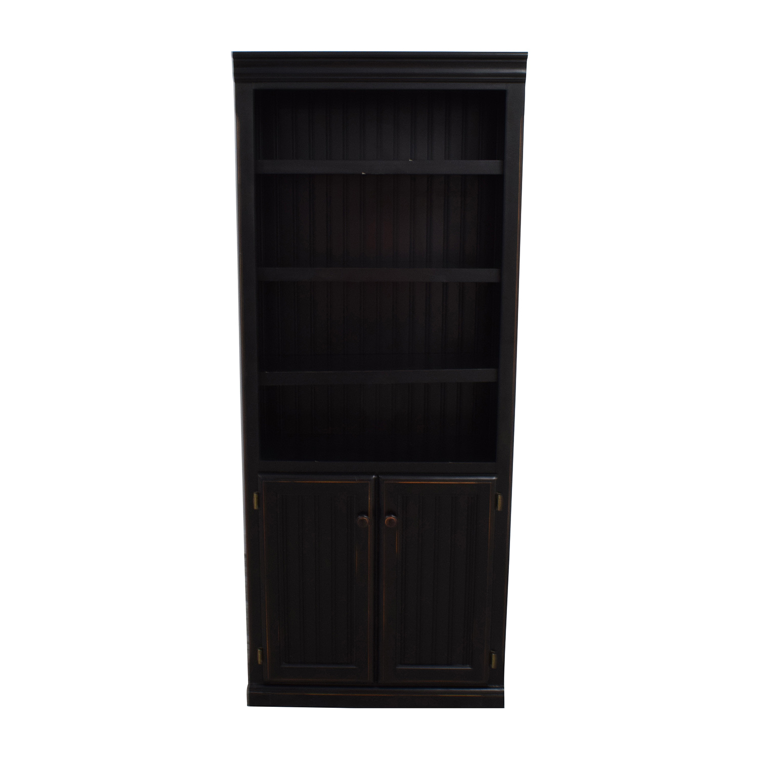 Raymour and Flanigan Raymour & Flanigan Dark Brown Wood Bookcase with  Cabinet for sale - 42% OFF - Mirror And Wood Rotating Bookcase / Storage