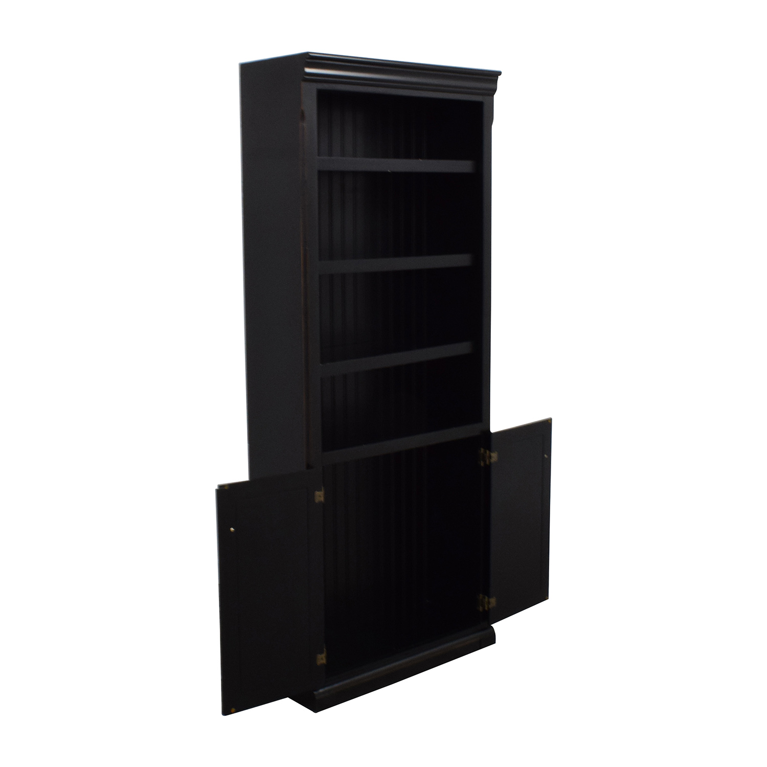 Raymour and Flanigan Raymour & Flanigan Dark Brown Wood Bookcase with Cabinet discount
