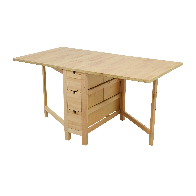 49 off ikea ikea birch norden gateleg drop leaf table with drawers tables. Black Bedroom Furniture Sets. Home Design Ideas