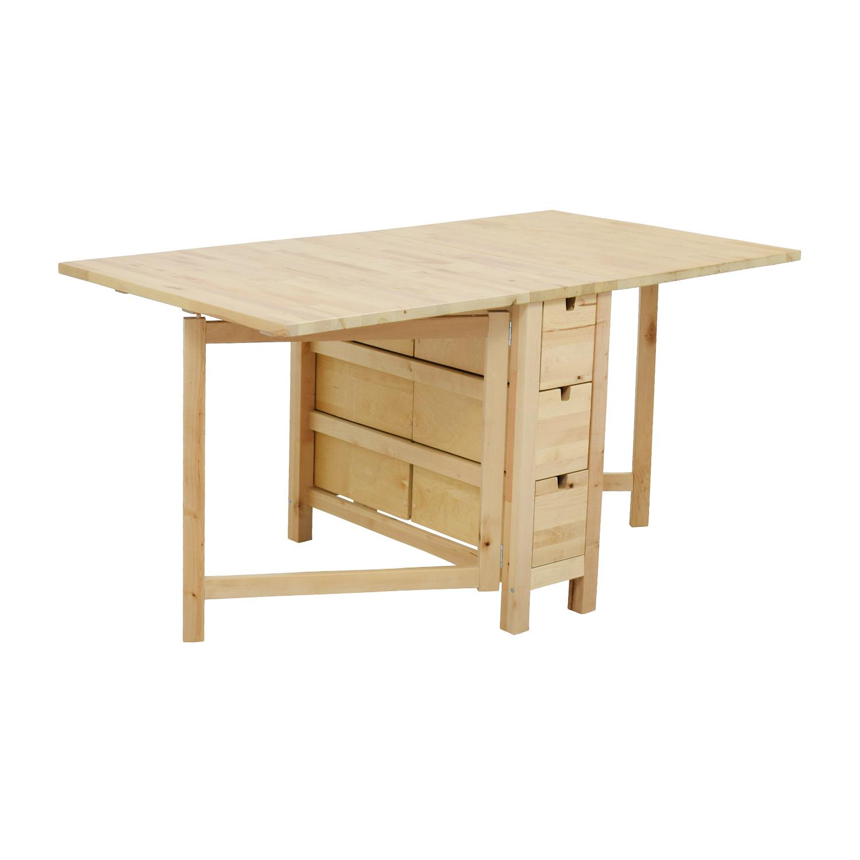 buy IKEA Birch Norden Gateleg Drop-Leaf Table with Drawers IKEA