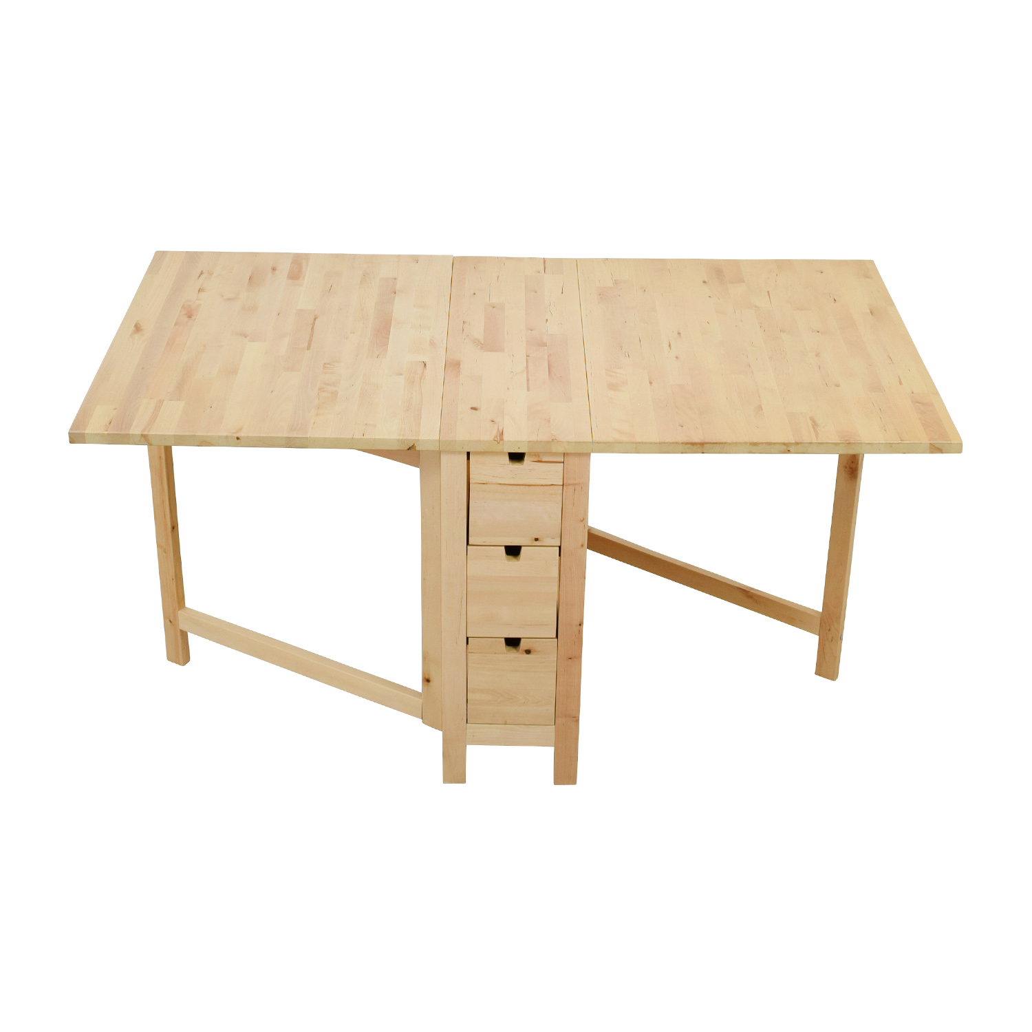 shop IKEA Birch Norden Gateleg Drop-Leaf Table with Drawers IKEA Utility Tables