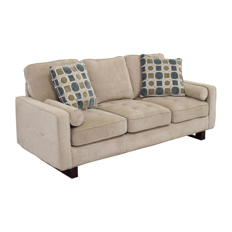 shop Bobs Discount Furniture Three-Seater Tan Couch Bobs Discount Furniture Sofas