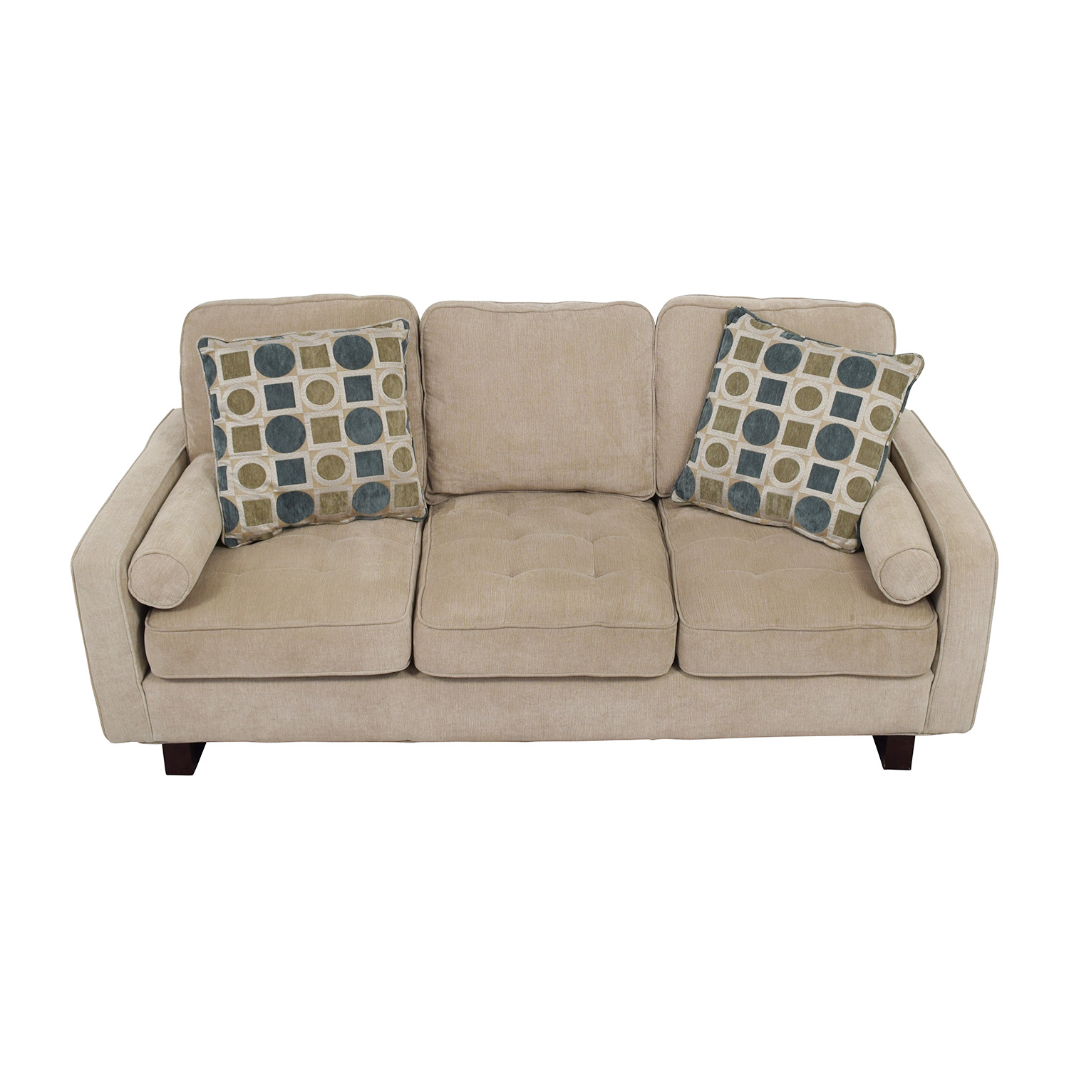 Bobs Discount Furniture Bobs Discount Furniture Three-Seater Tan Couch dimensions