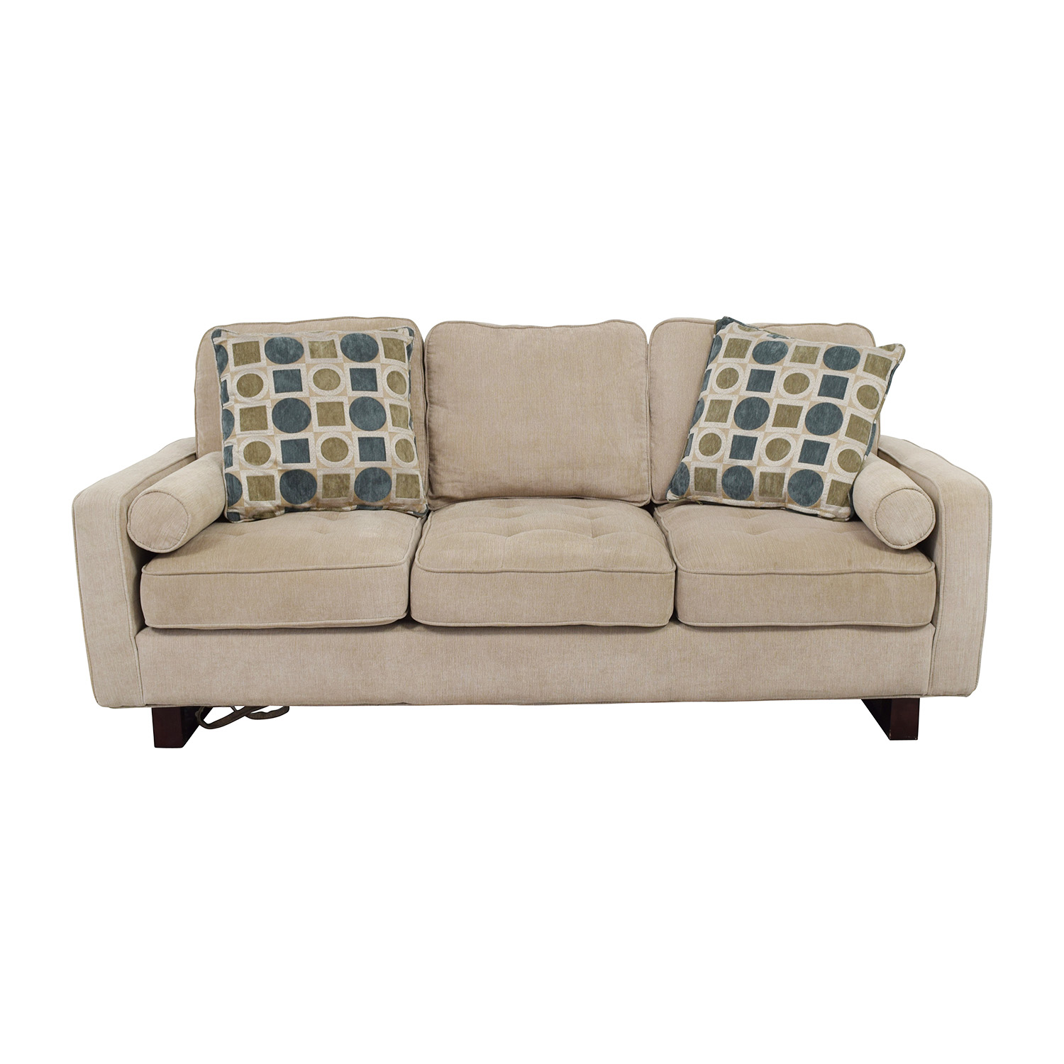 Bobs Discount Furniture Three-Seater Tan Couch / Sofas