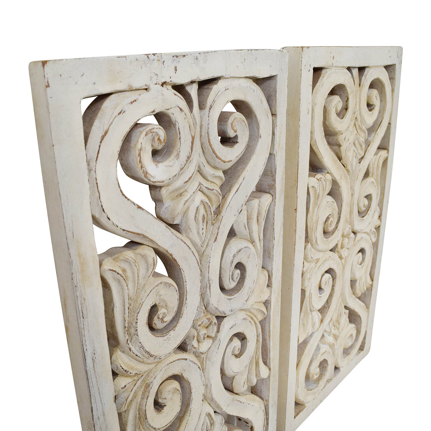 Distressed White Wood Wall Sculpture