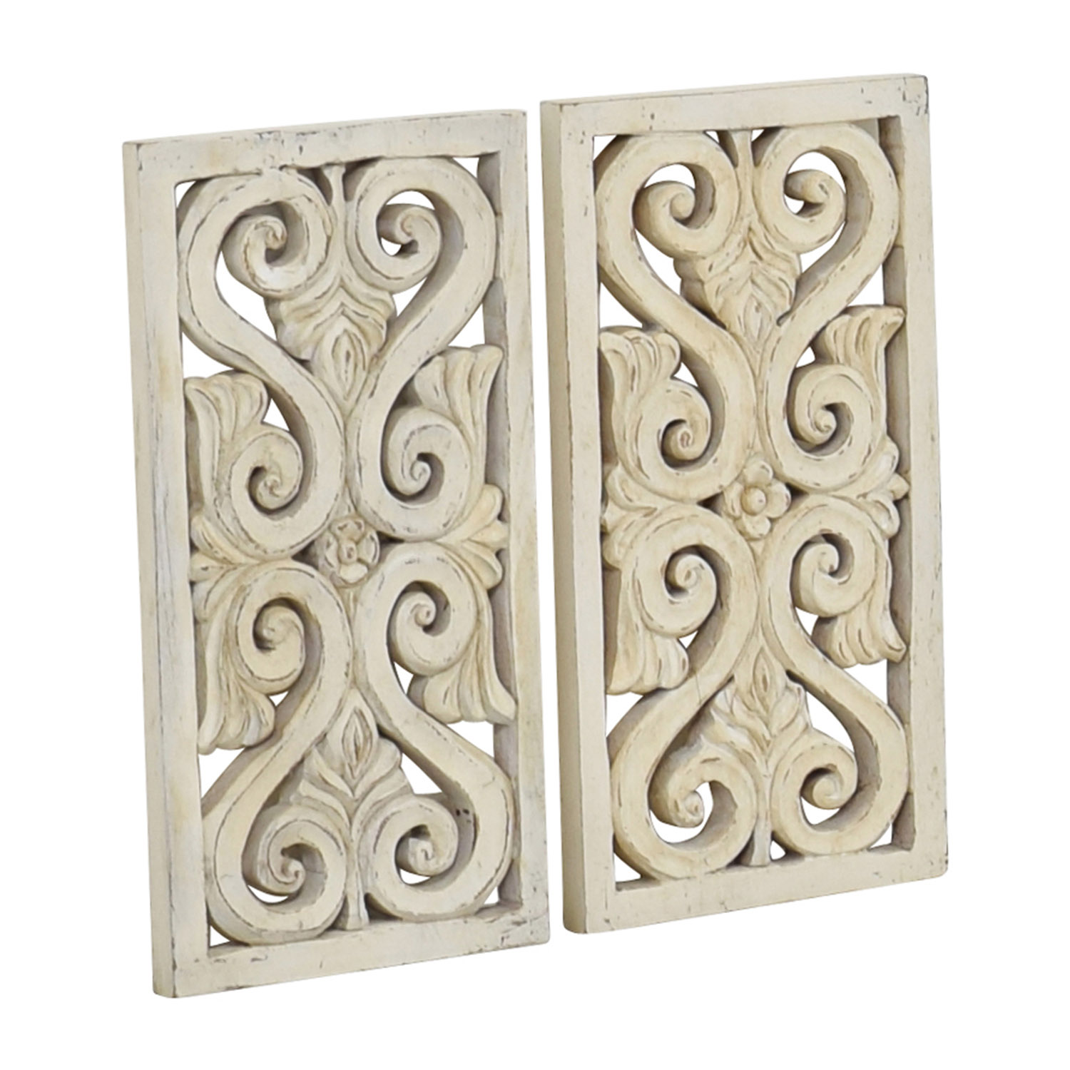 shop Distressed White Wood Wall Sculpture Decor