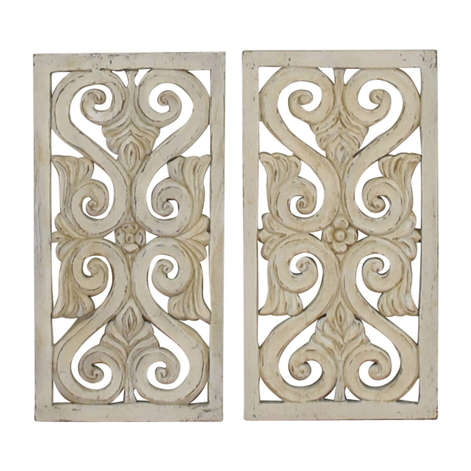 Distressed White Wood Wall Sculpture used