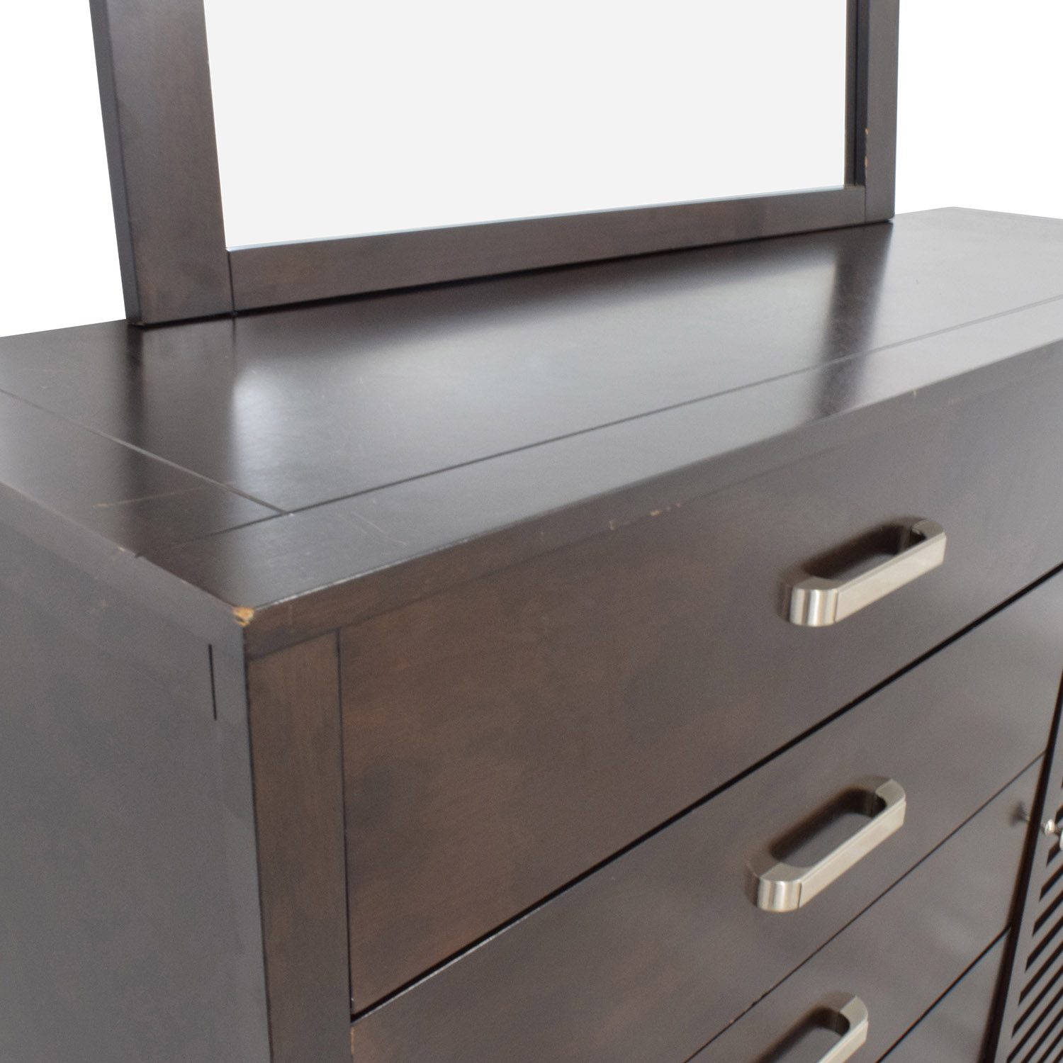 shop Rooms to Go Espresso Grove Five-Drawer Dresser with Mirror Rooms To Go Storage