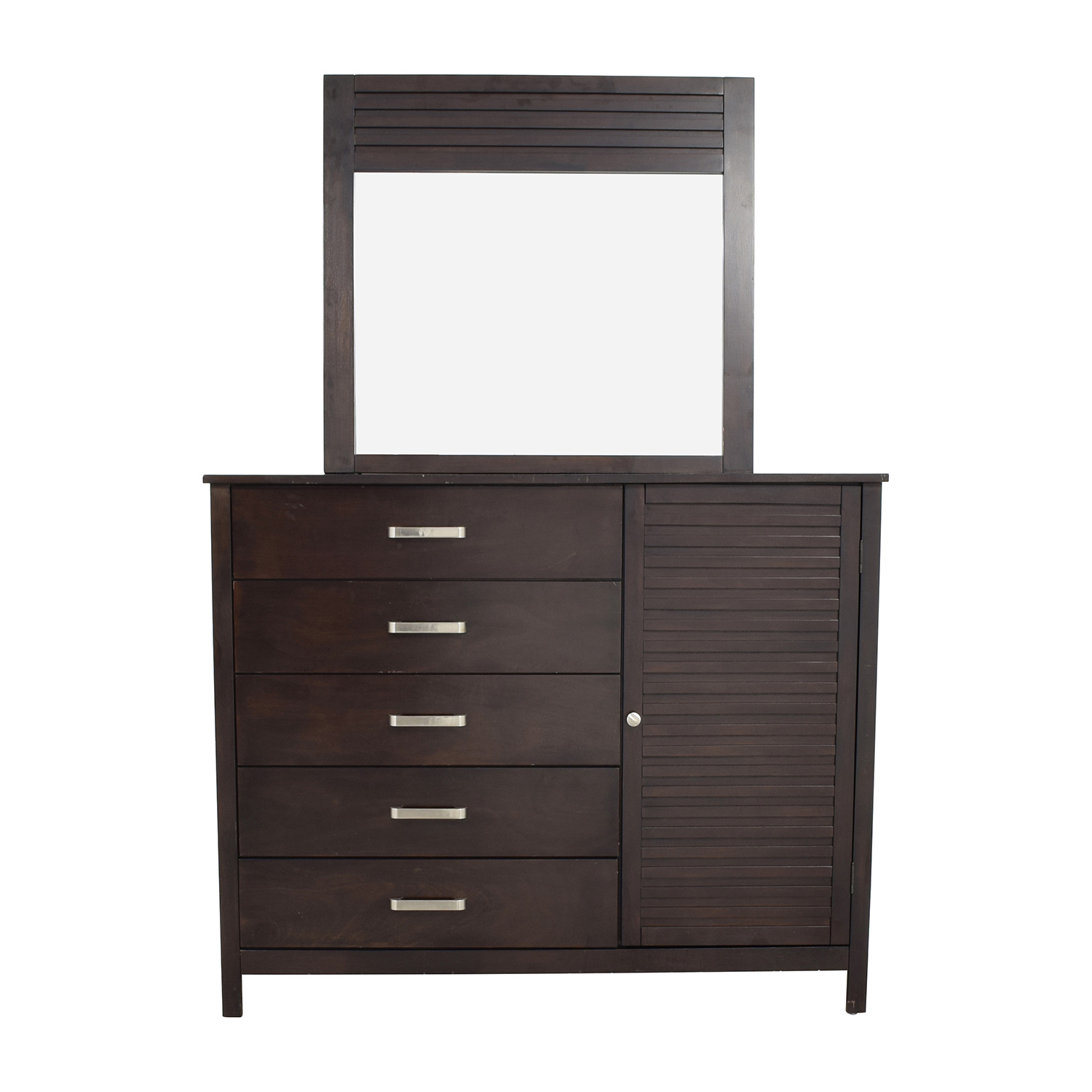 shop Rooms to Go Espresso Grove Five-Drawer Dresser with Mirror Rooms To Go