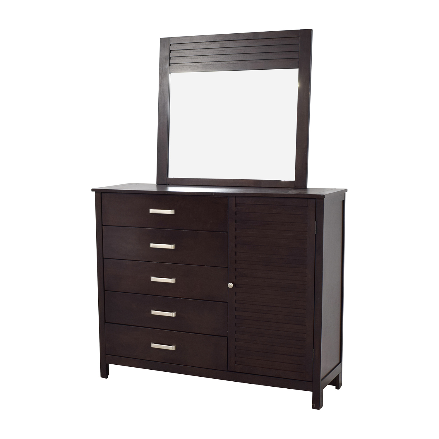 Rooms to Go Espresso Grove Five-Drawer Dresser with Mirror Rooms To Go