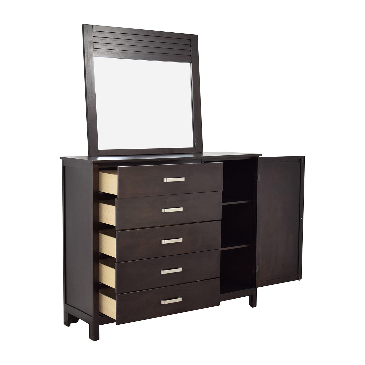 Rooms To Go Rooms to Go Espresso Grove Five-Drawer Dresser with Mirror on sale