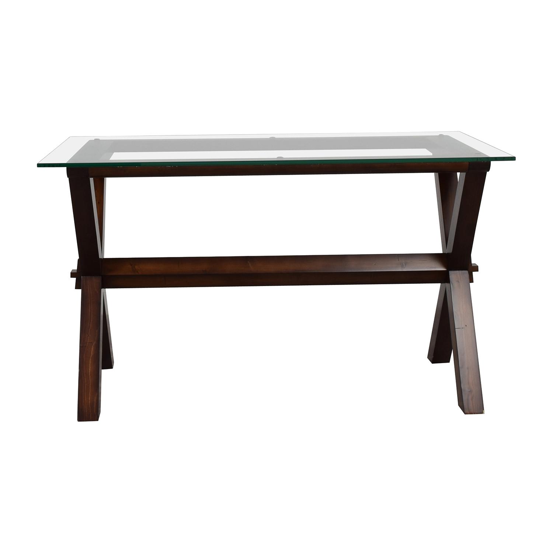 buy Pottery Barn Ava Rectangular Glass and Wood Desk Pottery Barn Tables