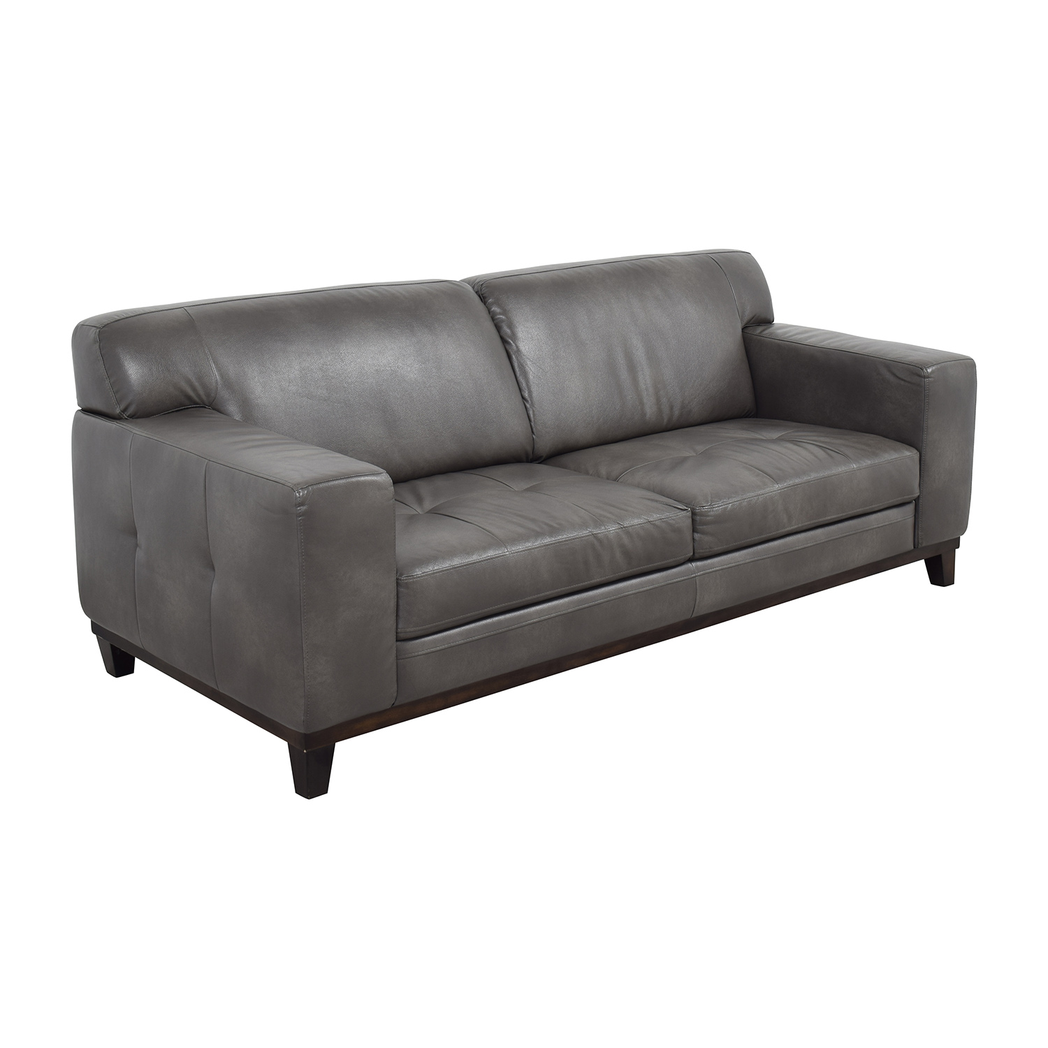 buy Raymour & Flanigan Grey Leather Couch Raymour & Flanigan