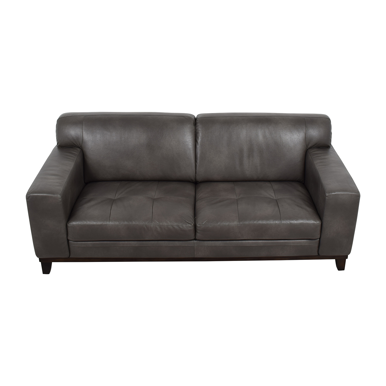 Raymour & Flanigan Grey Leather Couch / Sofas